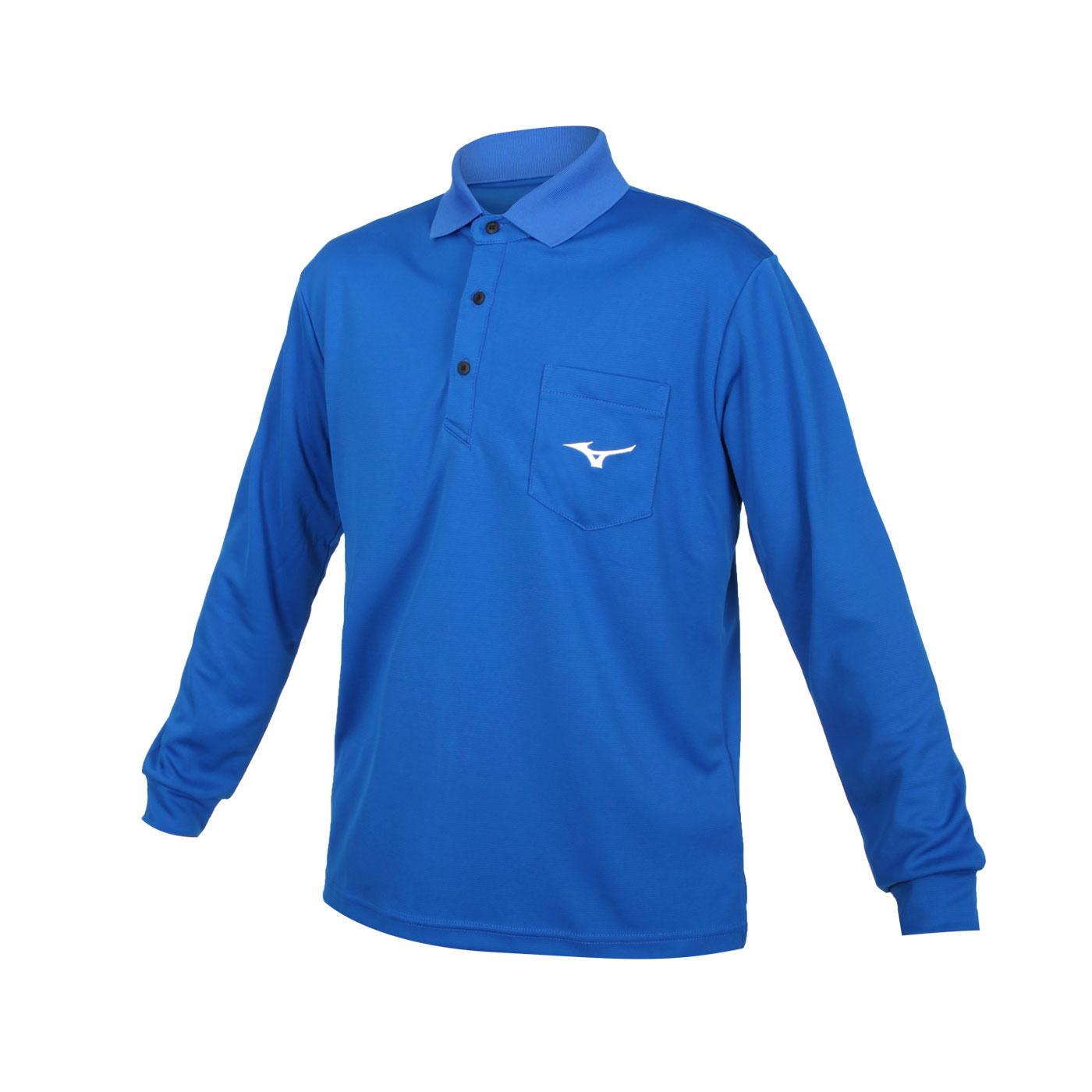 MIZUNO 男款長袖POLO衫 32TA154320 - 藍白