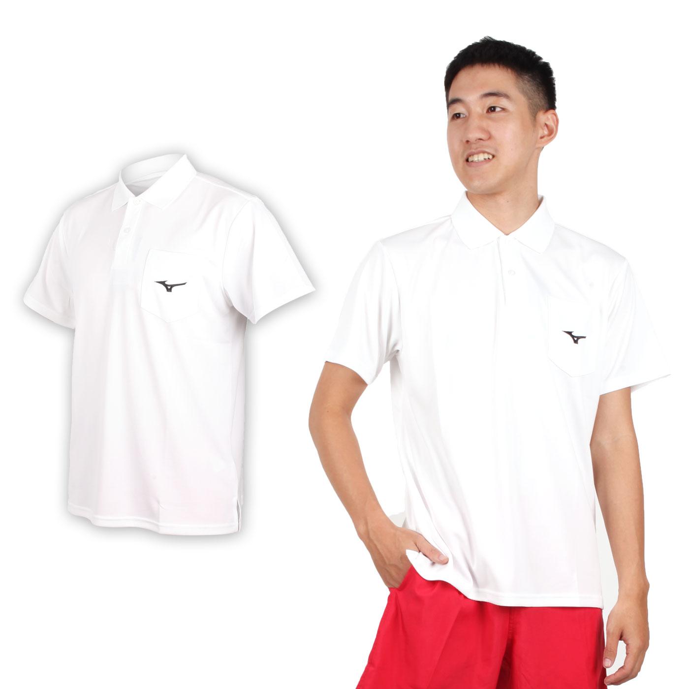 MIZUNO 男短袖POLO衫 32TA801501 - 白黑