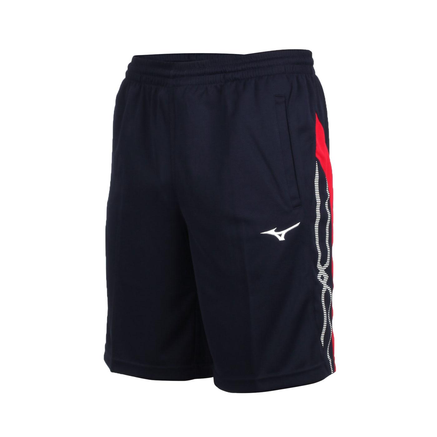 MIZUNO 男款針織短褲 32TB050214 - 丈青紅白