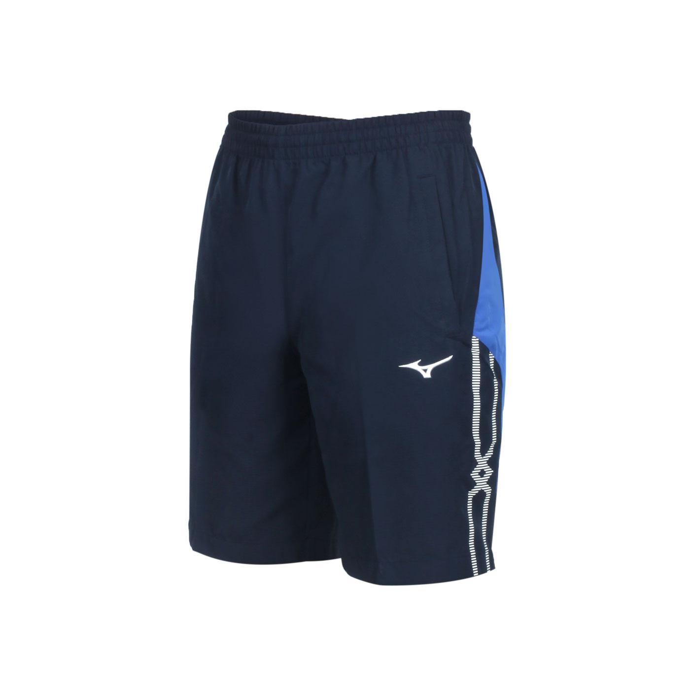 MIZUNO 男款平織運動短褲 32TB055314 - 丈青藍白