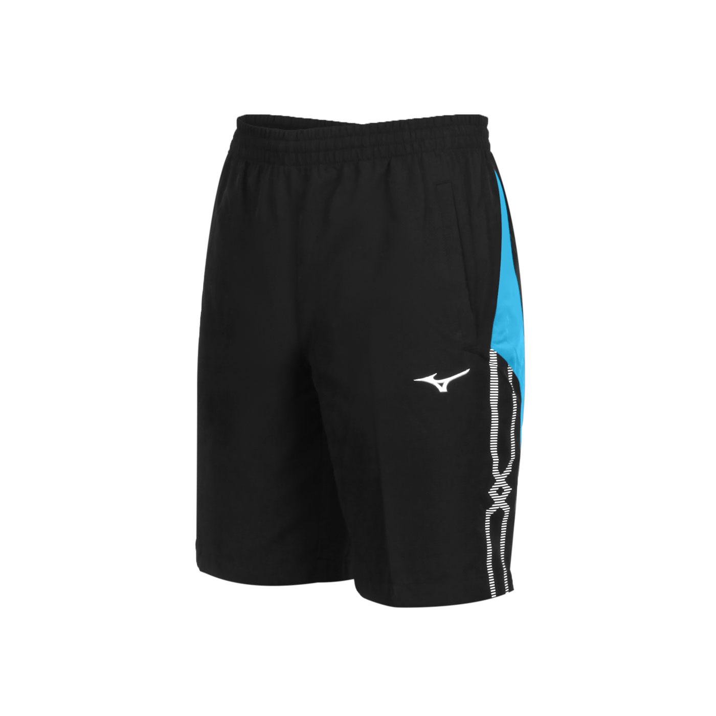 MIZUNO 男款平織運動短褲 32TB055314 - 黑水藍白