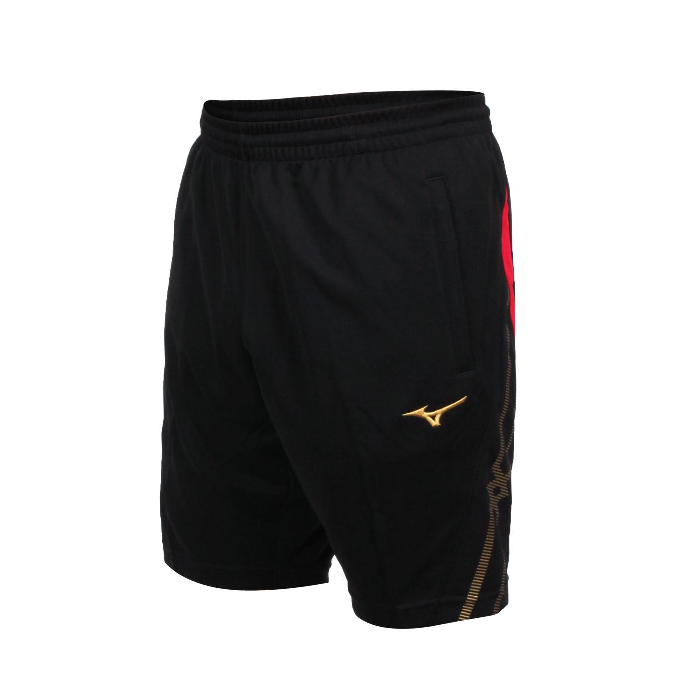 MIZUNO 男款針織運動短褲 32TB100496 - 黑紅金
