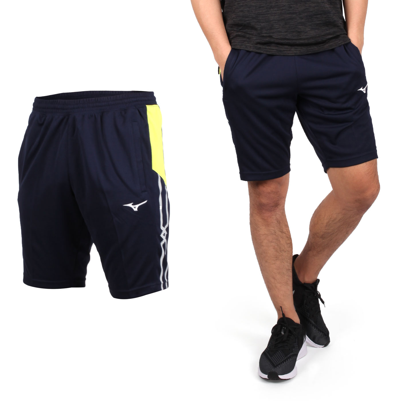 MIZUNO 男款針織運動短褲 32TB950614 - 丈青綠白