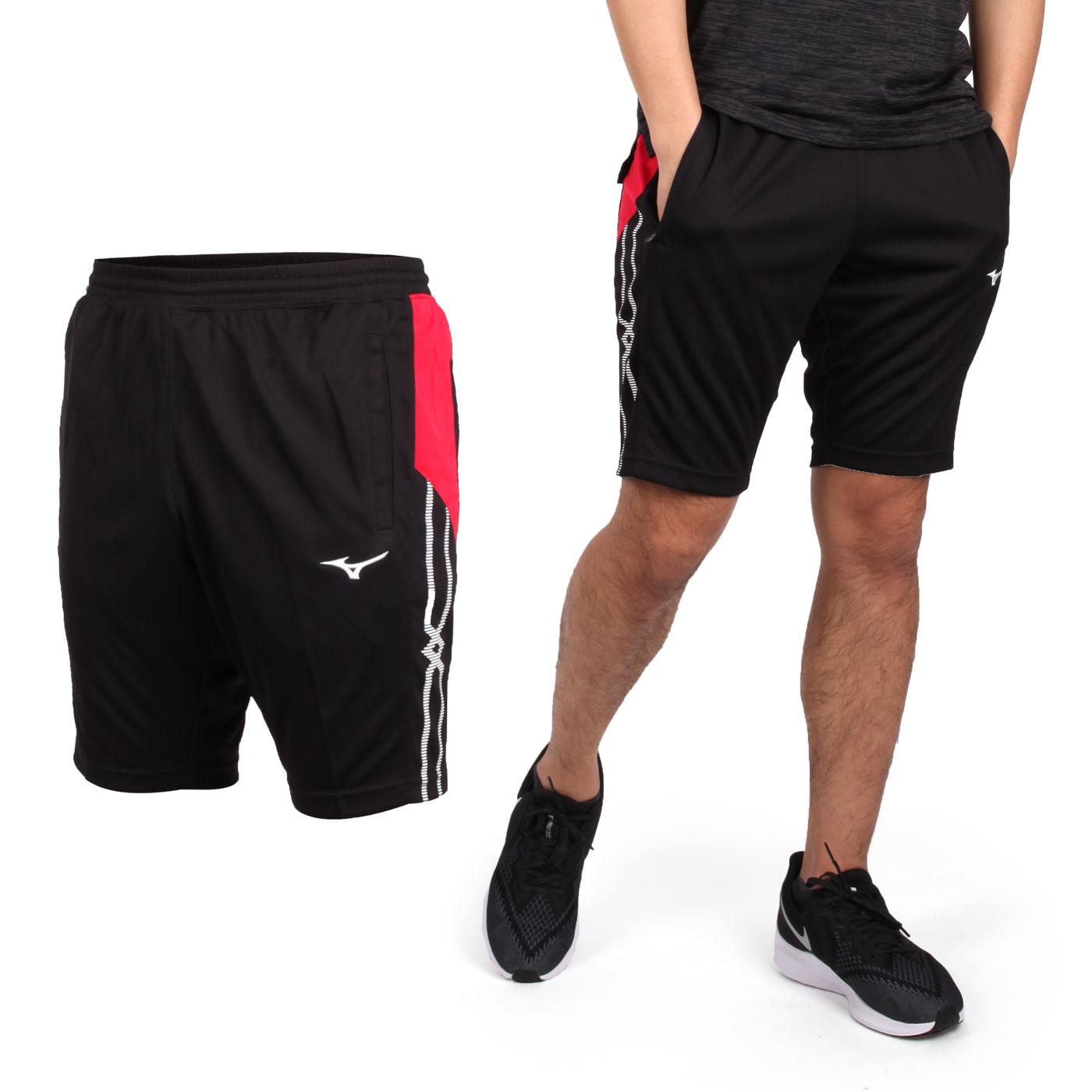 MIZUNO 男款針織運動短褲 32TB950614 - 黑紅白