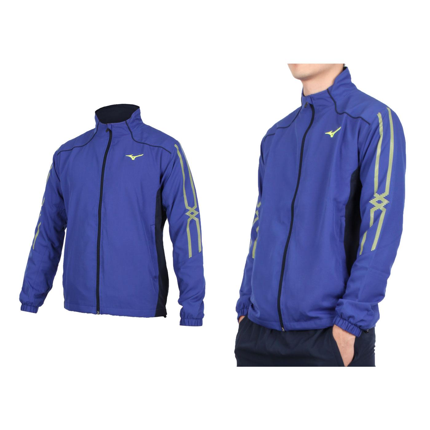 MIZUNO 男款平織運動外套 32TC008515 - 藍丈青螢黃
