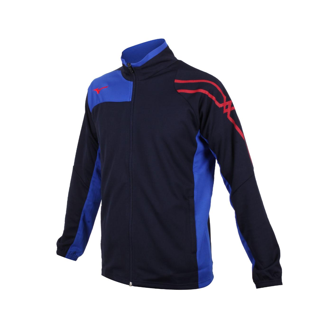 MIZUNO 男款針織立領外套 32TC103314 - 丈青藍紅