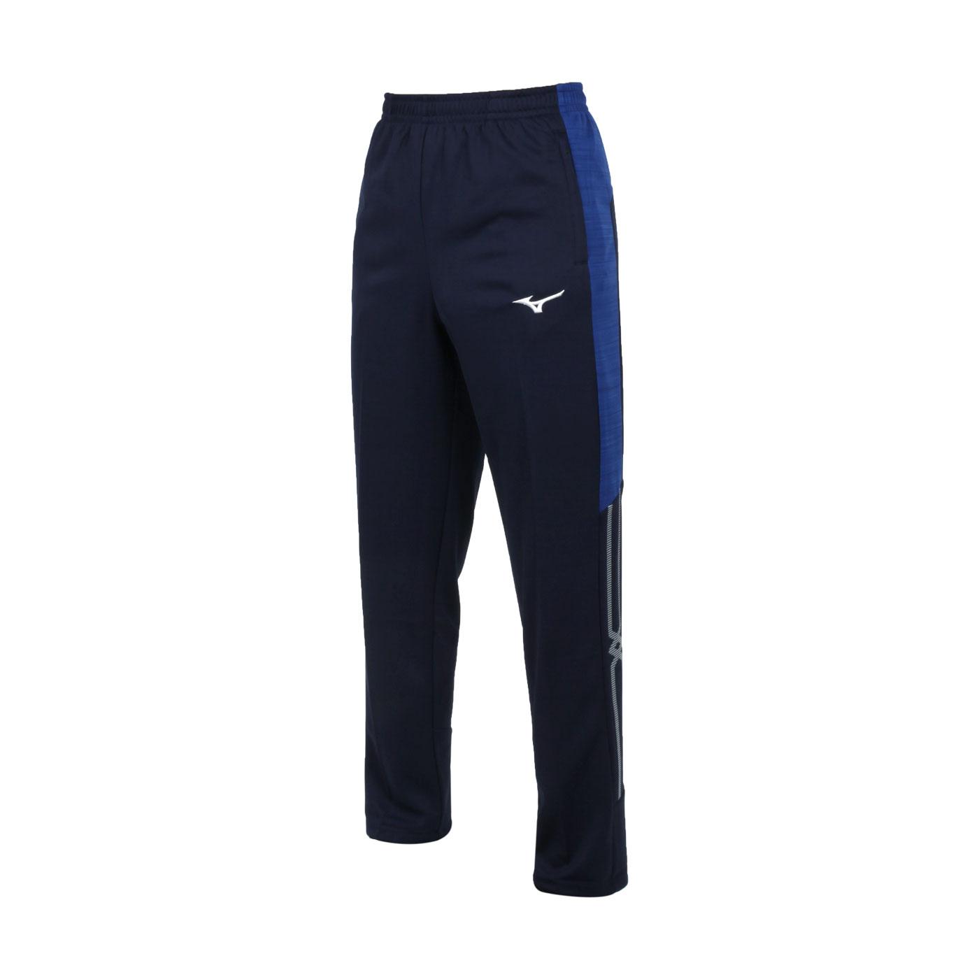 MIZUNO 男款針織長褲 32TD153382 - 丈青藍白