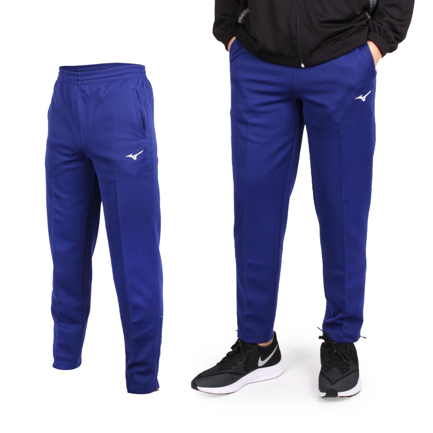 MIZUNO 男款針織長褲 32TD8A3609 - 藍白