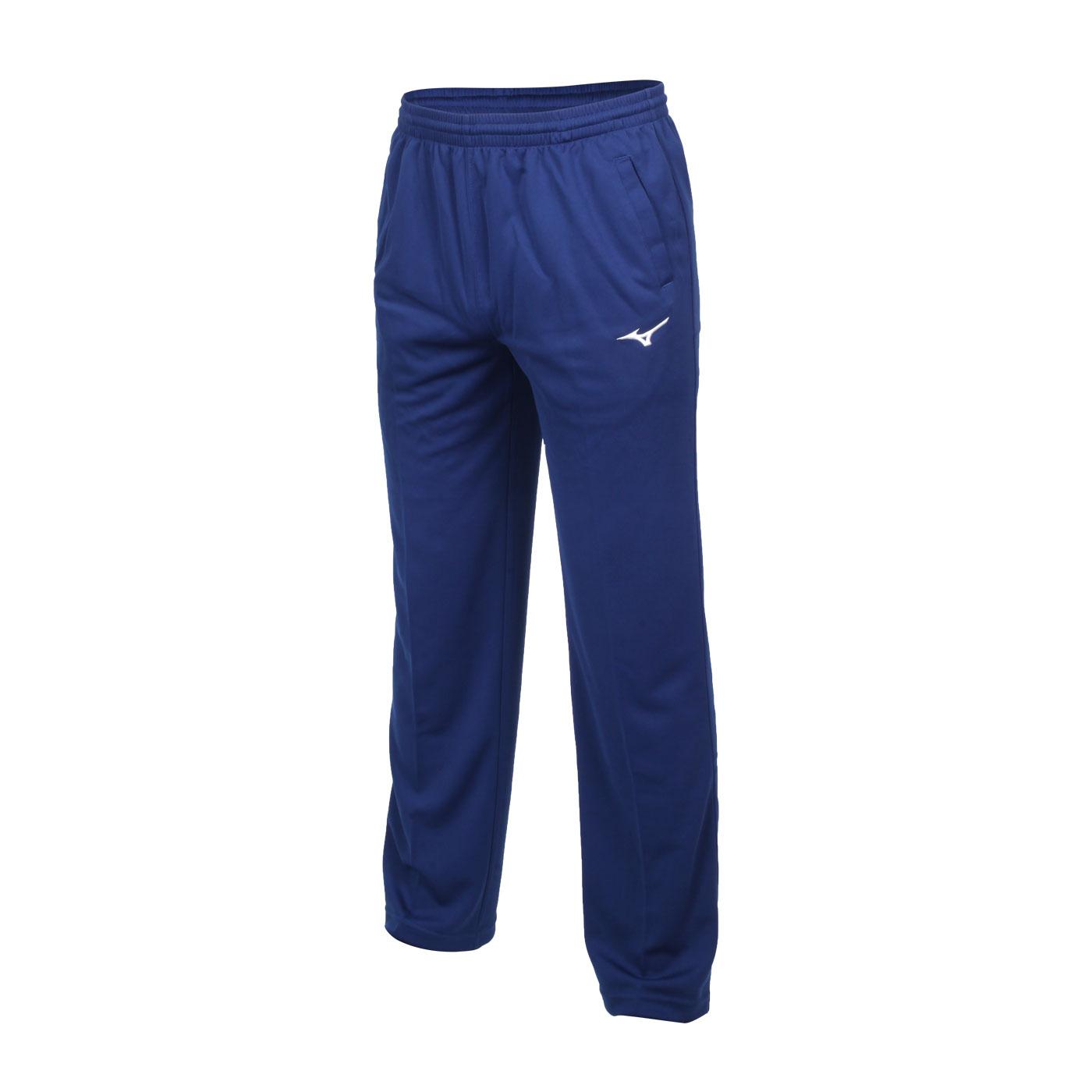 MIZUNO 男款針織長褲 32TD8A3816 - 藍白