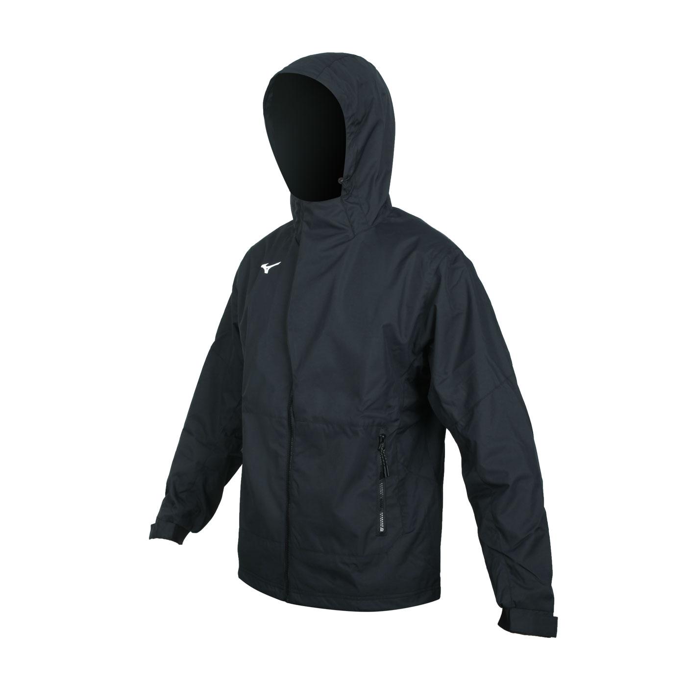 MIZUNO 男款保暖連帽外套 32TE059309 - 黑白