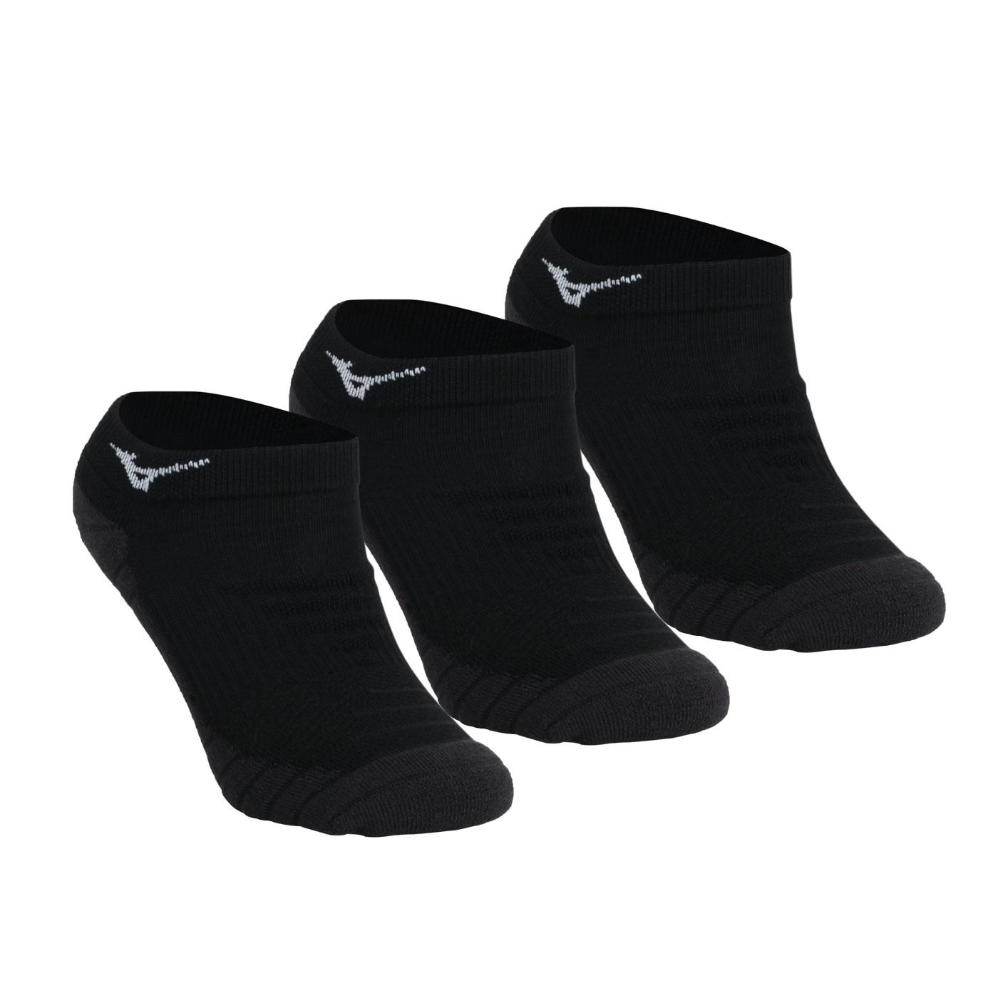 MIZUNO 男運動薄底裸襪(3雙入) 32TX0A3109 - 黑白