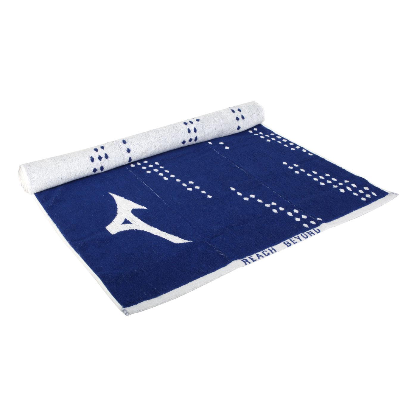 MIZUNO 浴巾 32TY110327 - 深藍白