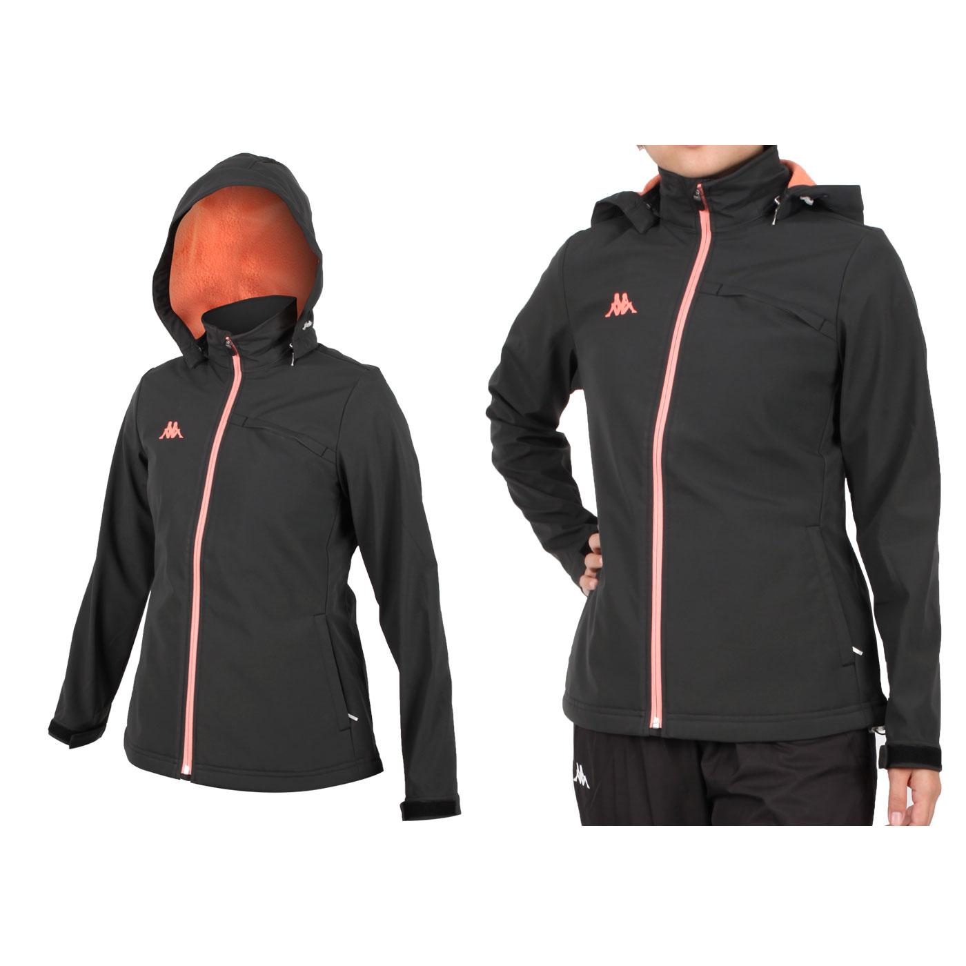 KAPPA 女款防潑水刷毛裡外套 351299W-B55 - 黑粉橘