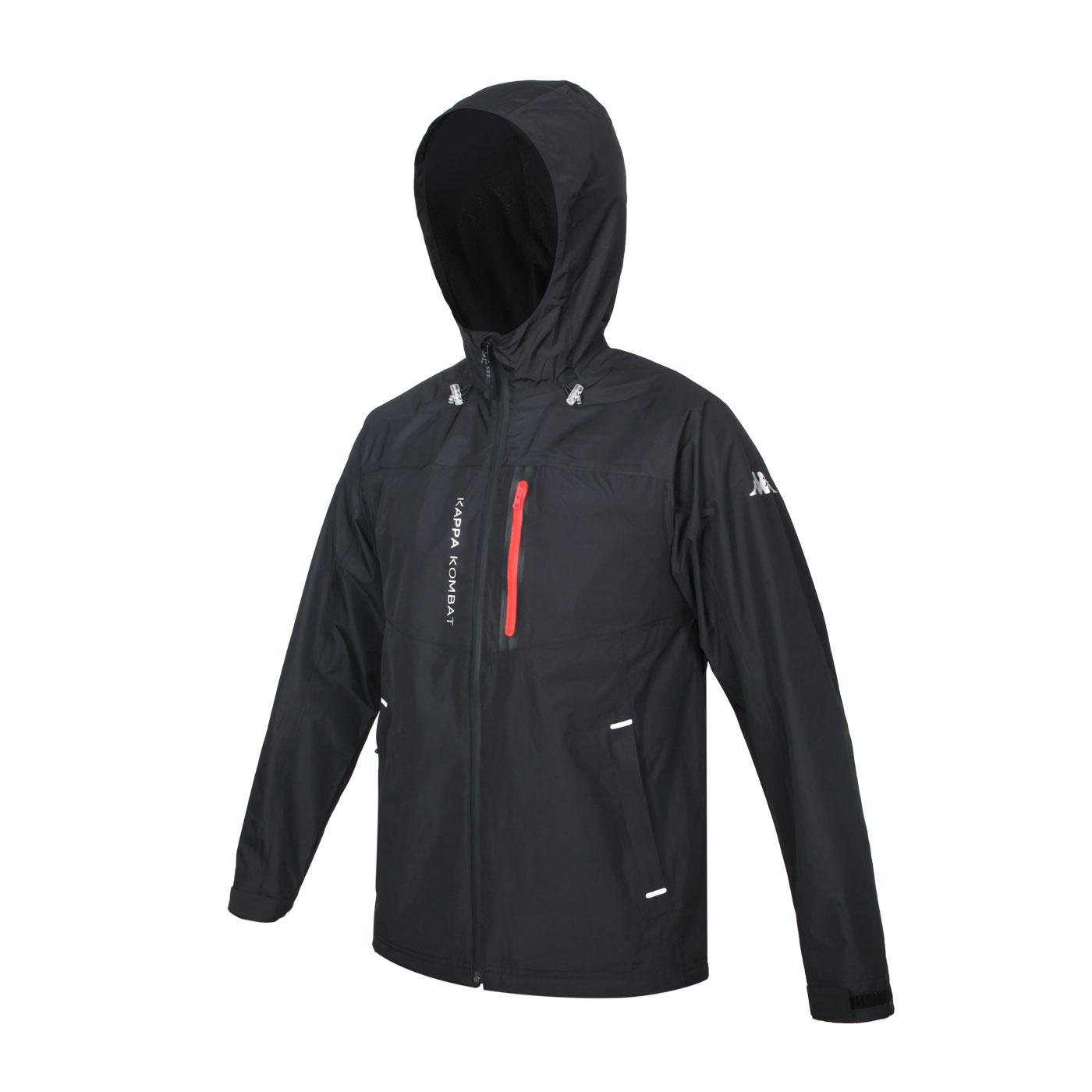 KAPPA 男款防水貼條外套+網裡 37172UW-005 - 黑紅