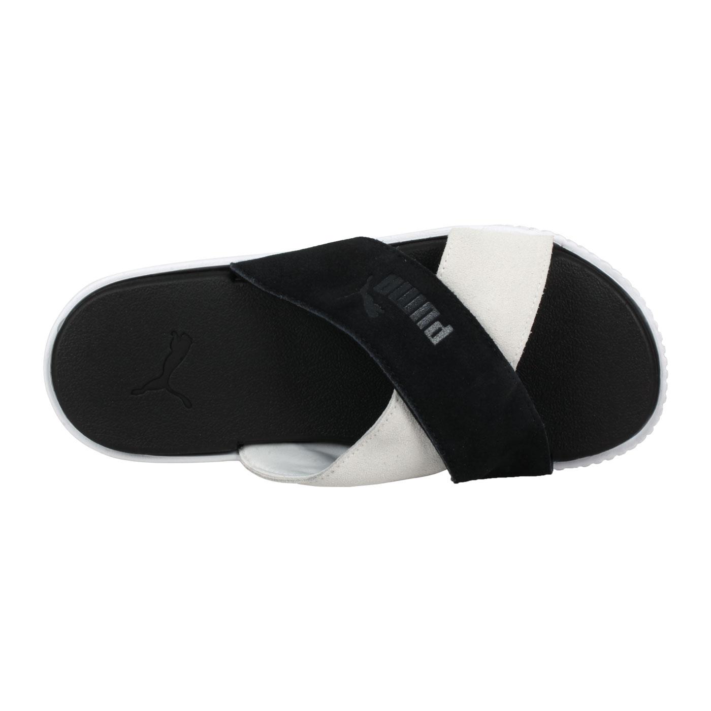 PUMA 女款休閒拖鞋  @Platfprm Slide Suede@37510503 - 黑白