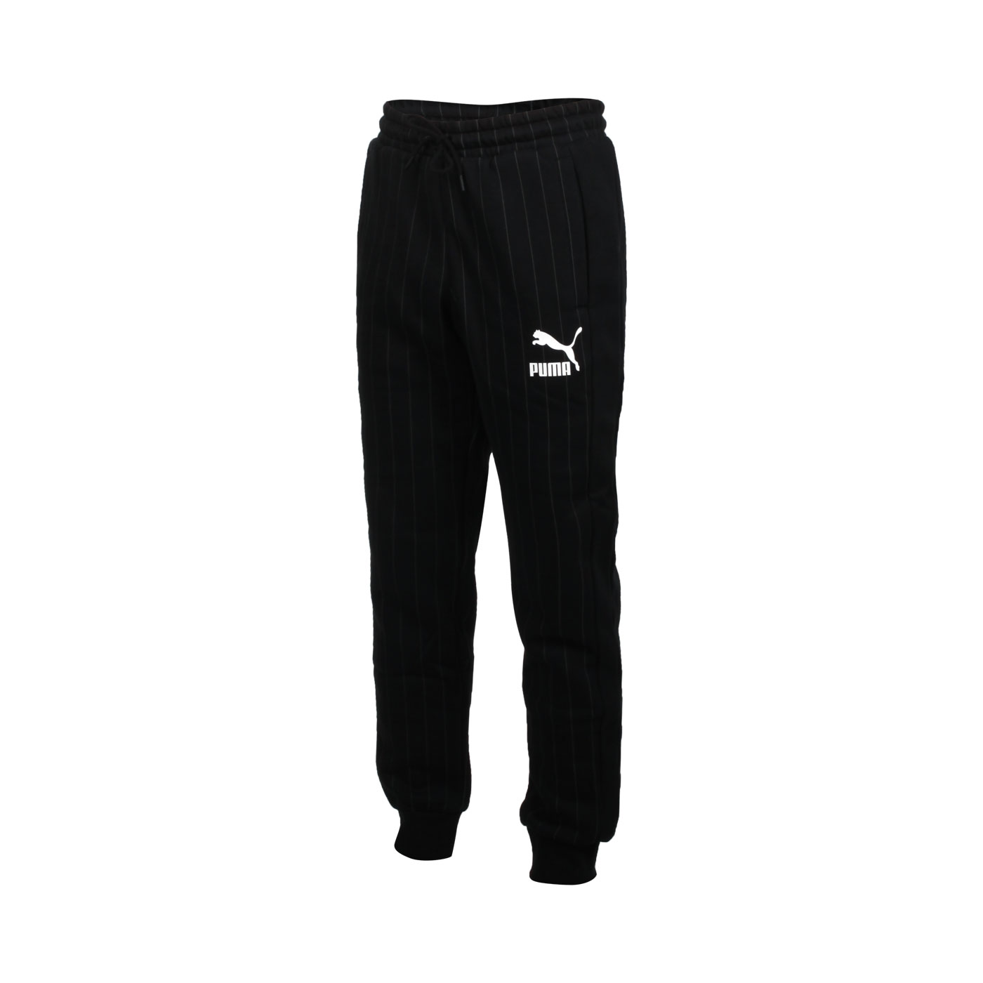 PUMA 男款流行系列內刷毛條紋運動長褲 53017801 - 黑白