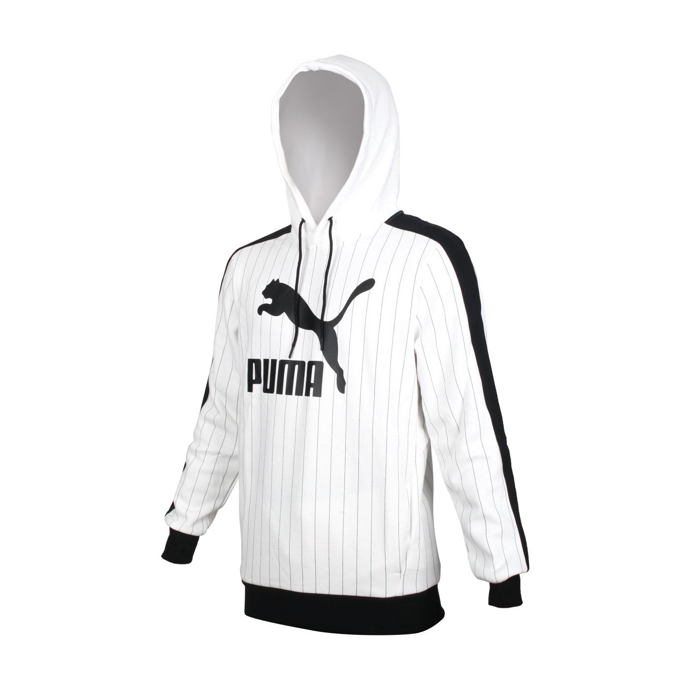PUMA 男款流行系列內刷毛條紋長袖連帽T恤 53017902 - 白黑