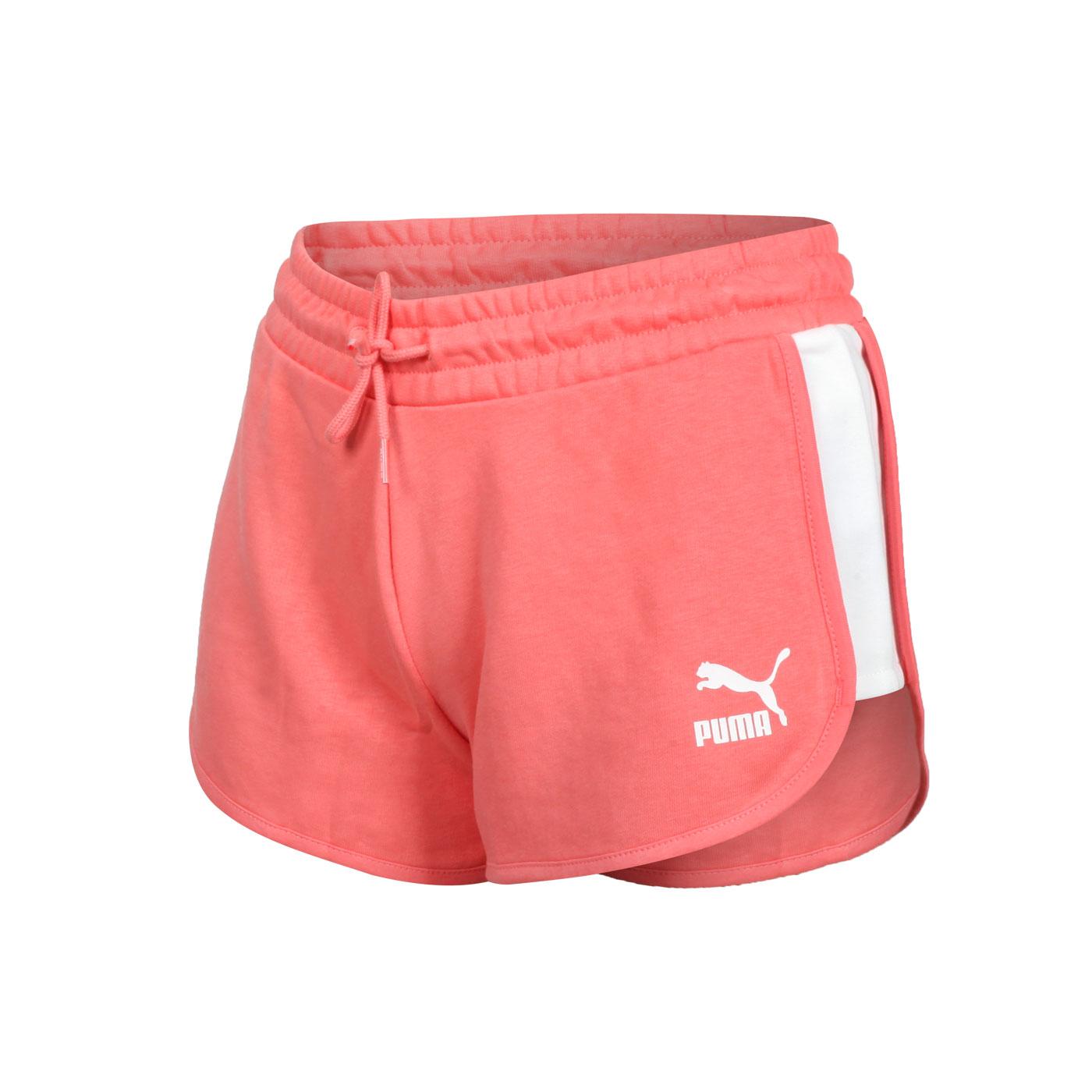 PUMA 女款流行系列T7短褲 53023724 - 珊瑚橘白