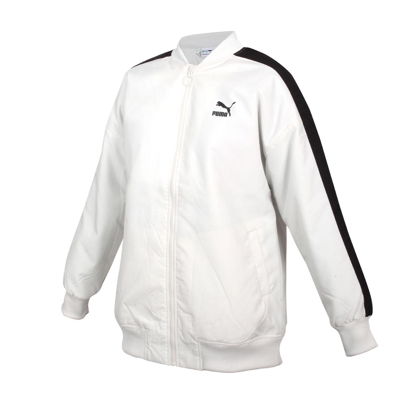 PUMA 女款立領棒球外套 53027505 - 米白黑