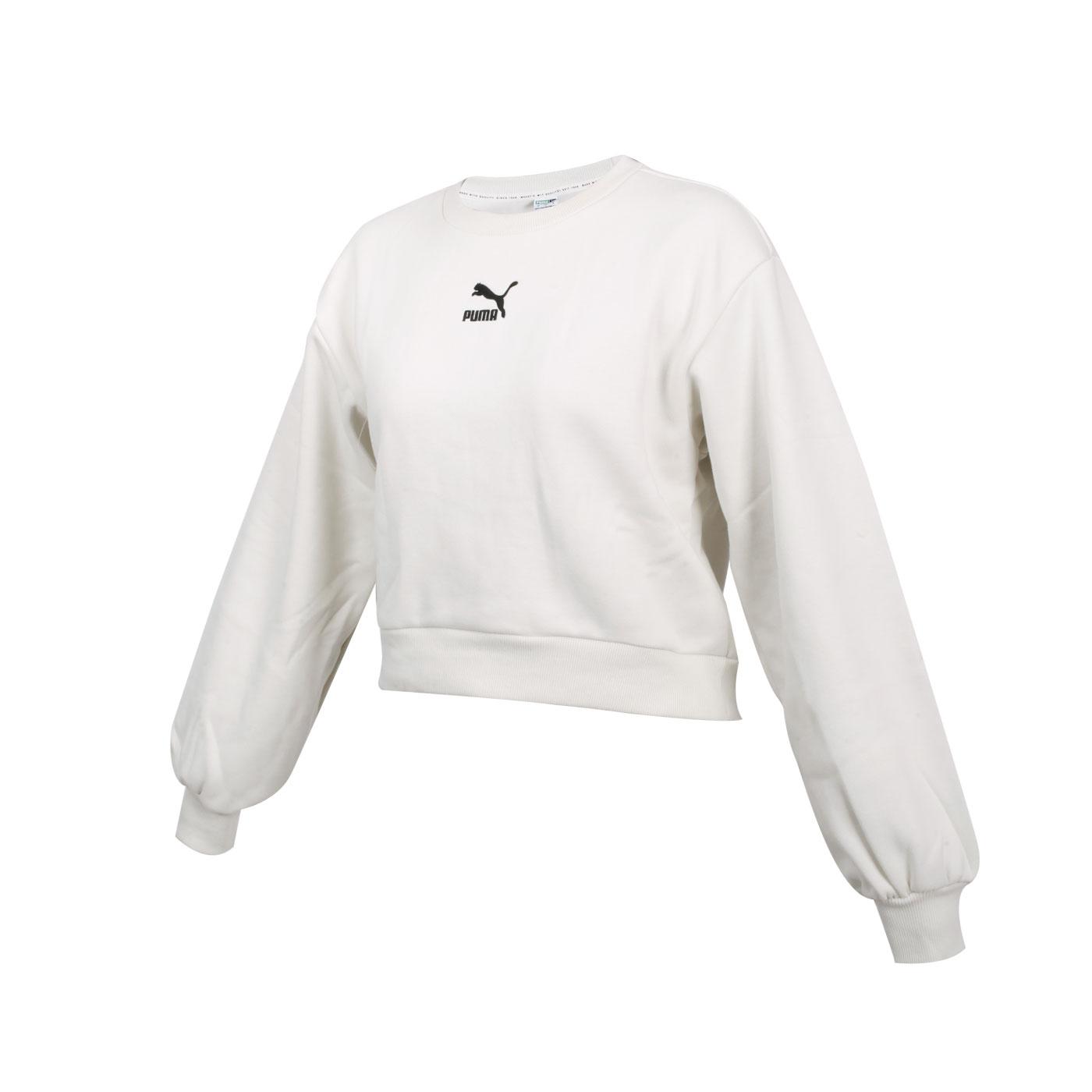 PUMA 女款圓領長袖T恤 53027705 - 米白黑