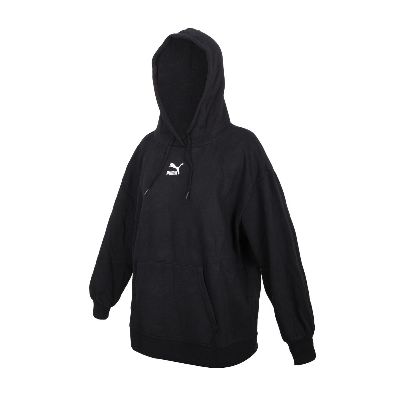 PUMA 女款寬版長厚連帽T恤 53028001 - 黑白