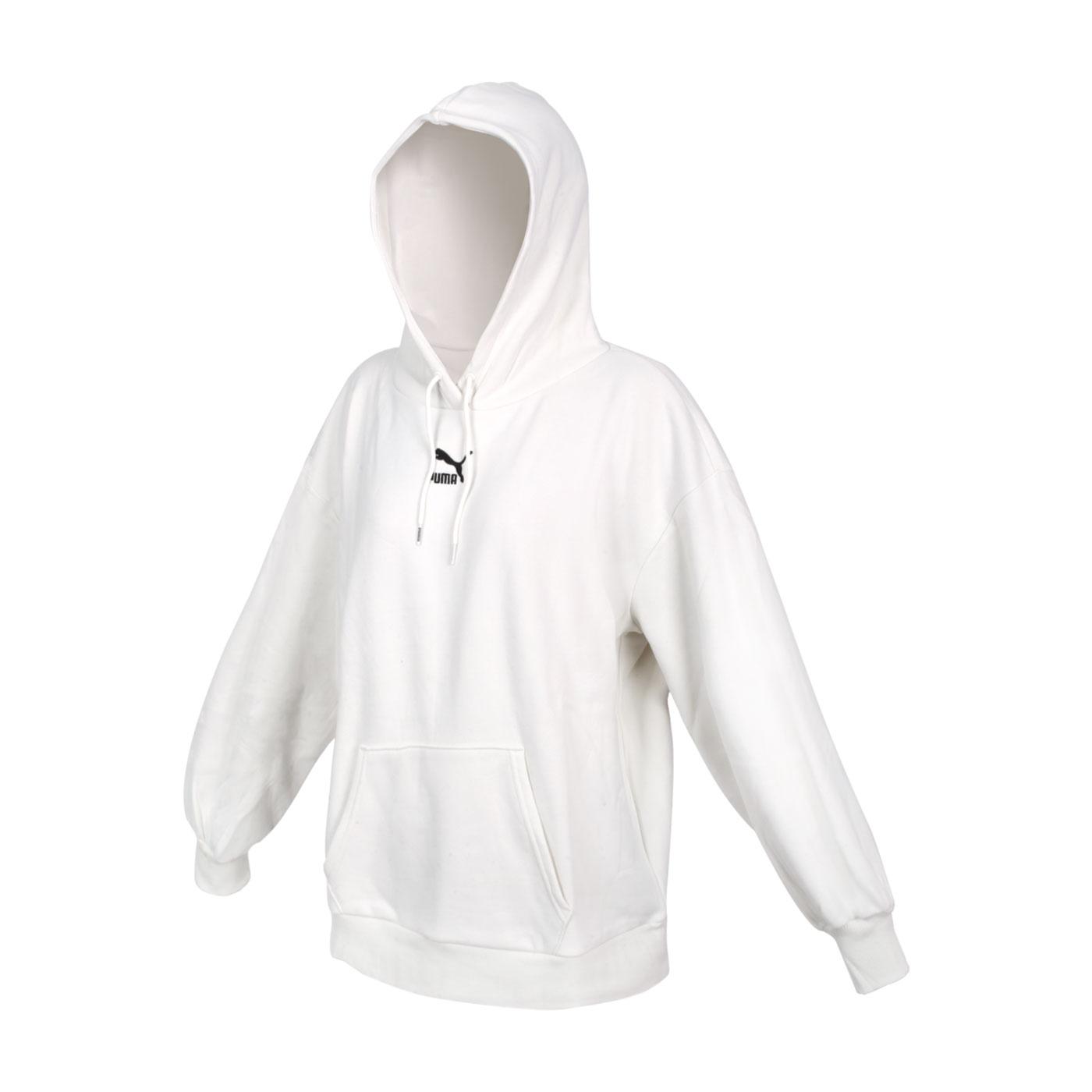 PUMA 女款寬版長厚連帽T恤 53028005 - 米白黑
