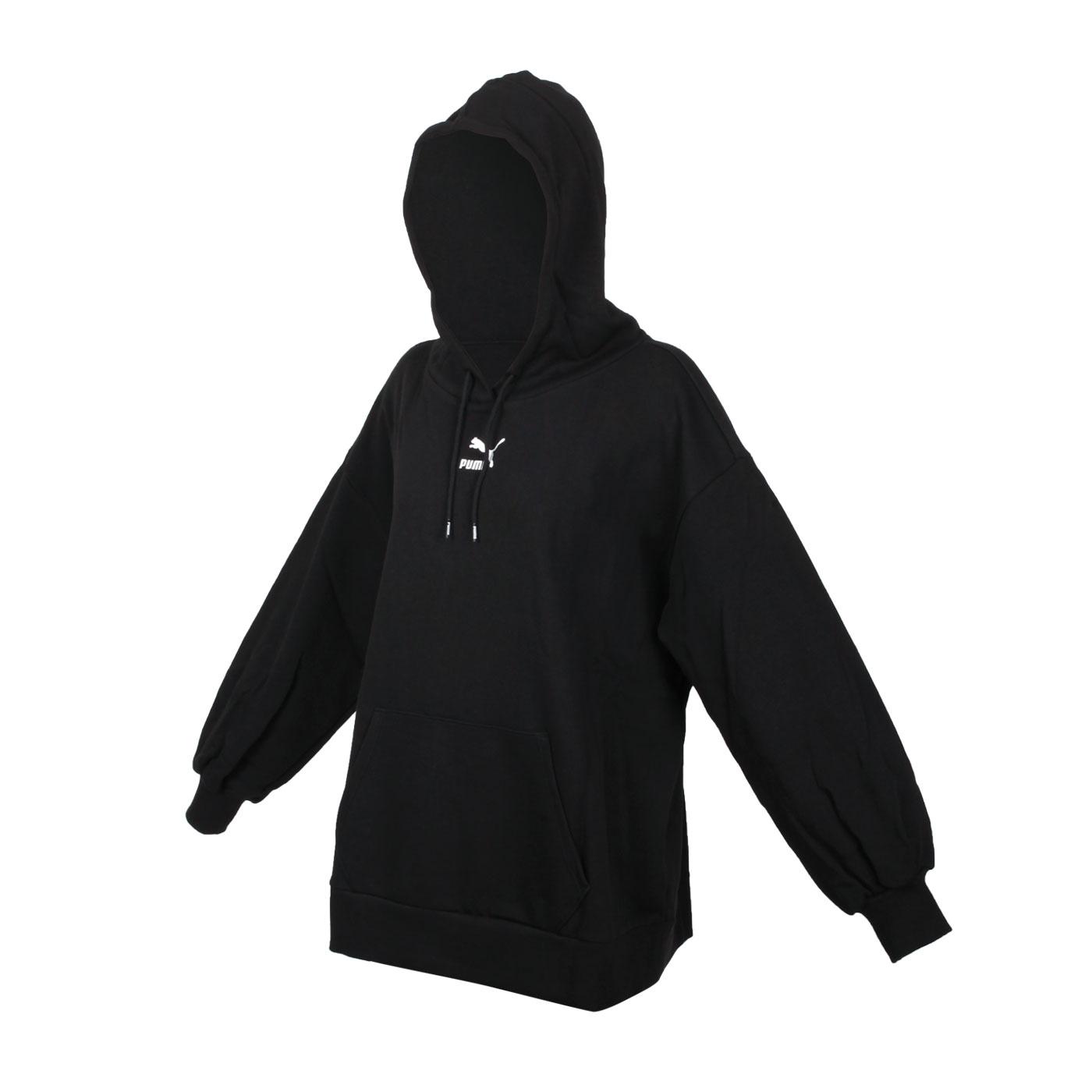 PUMA 女款Classics寬版長厚連帽T恤 53041201 - 黑白