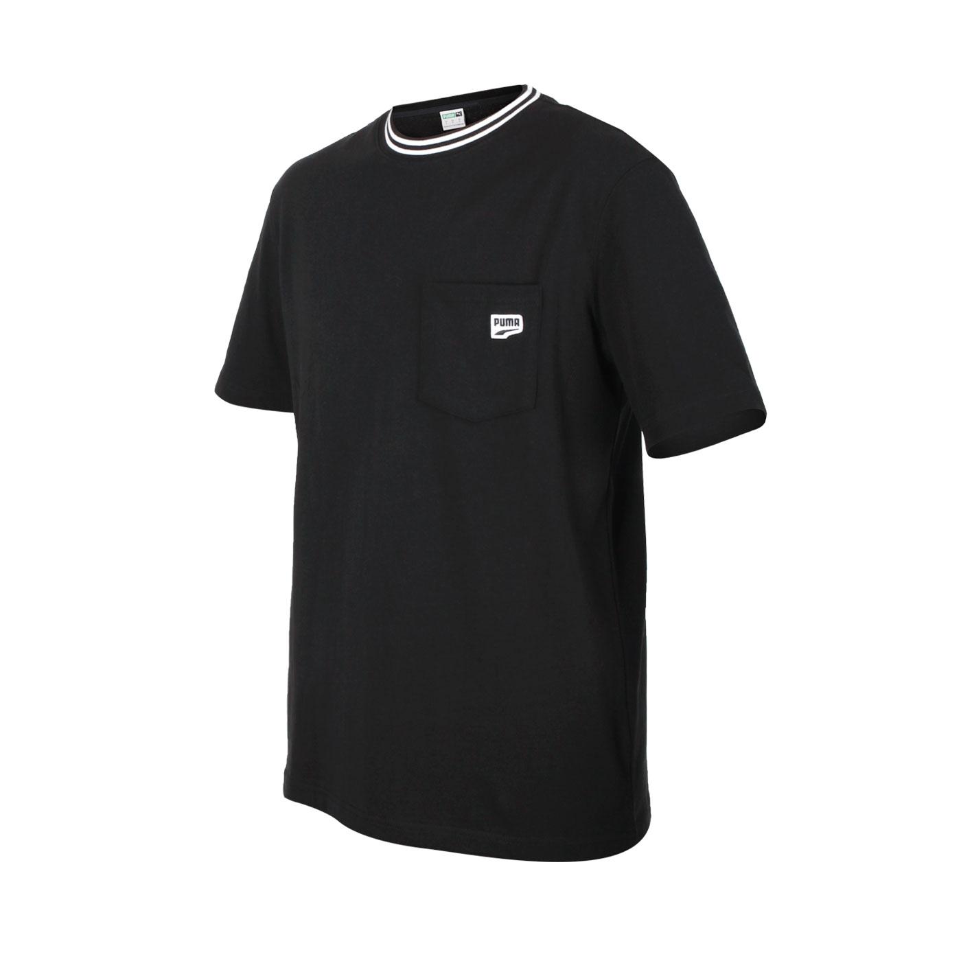 PUMA 男款Down town口袋短袖T恤 53143201 - 黑白