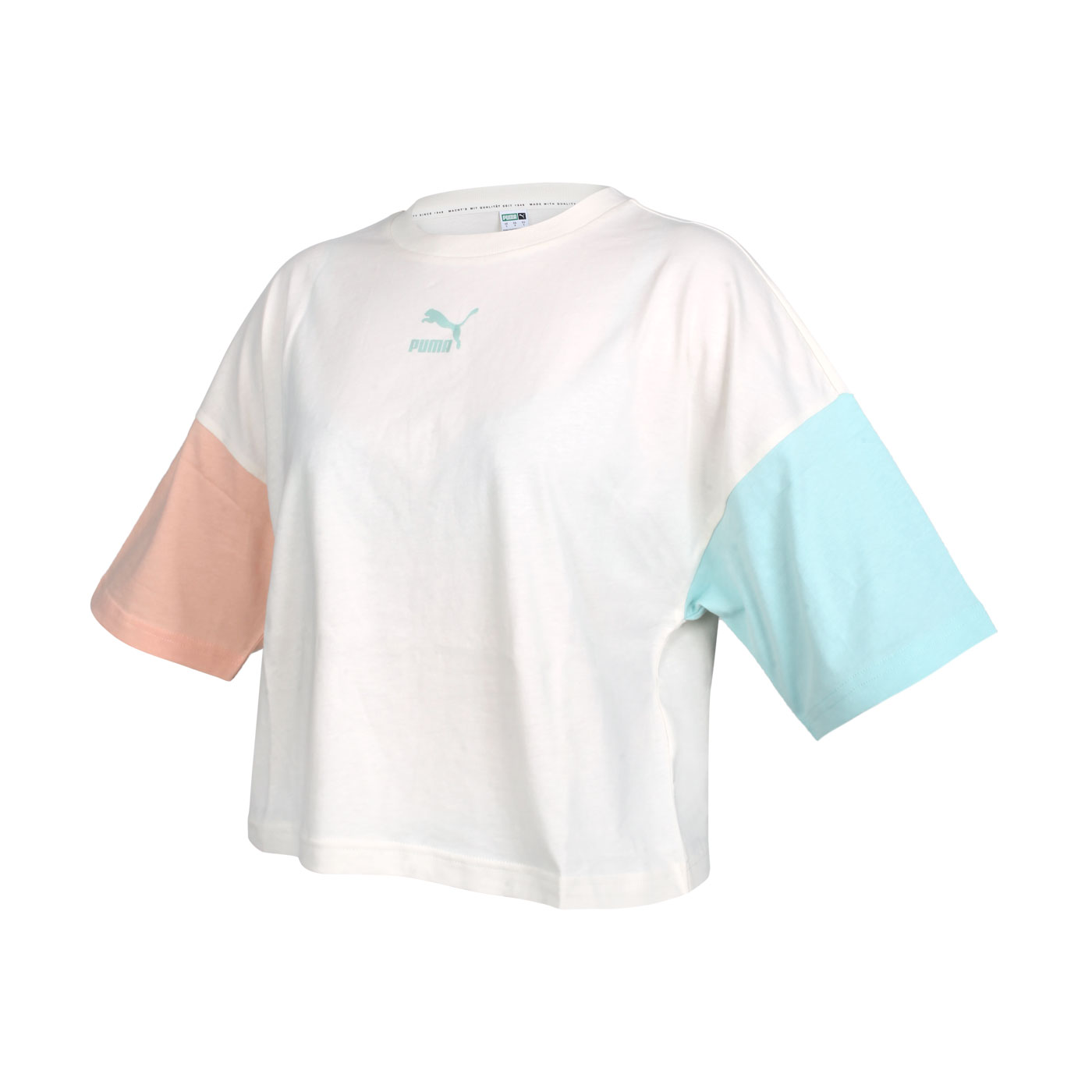 PUMA 女款短袖T恤 53169688 - 米白黃橘綠