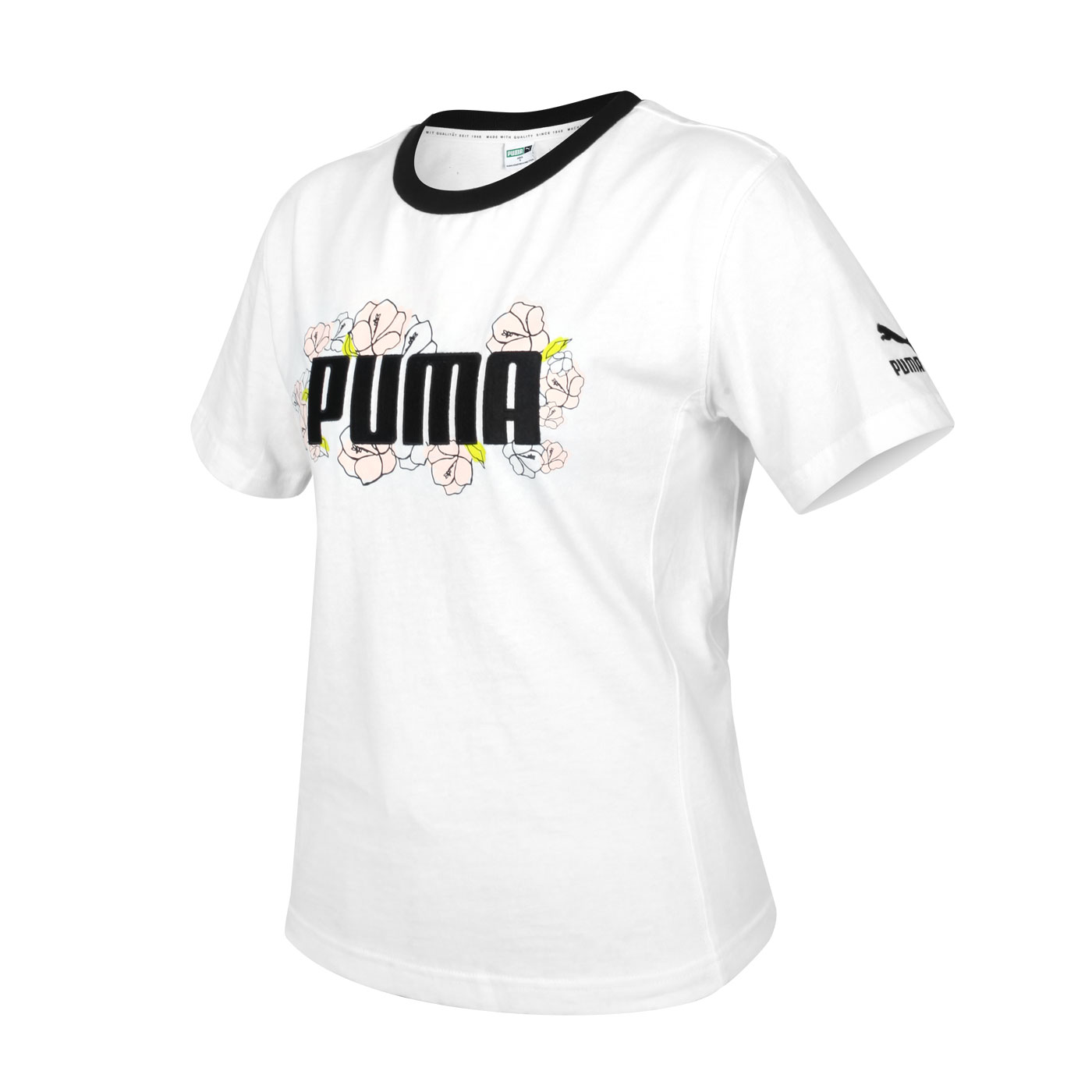 PUMA 女款Floral短袖T恤 53204202 - 白黑粉綠