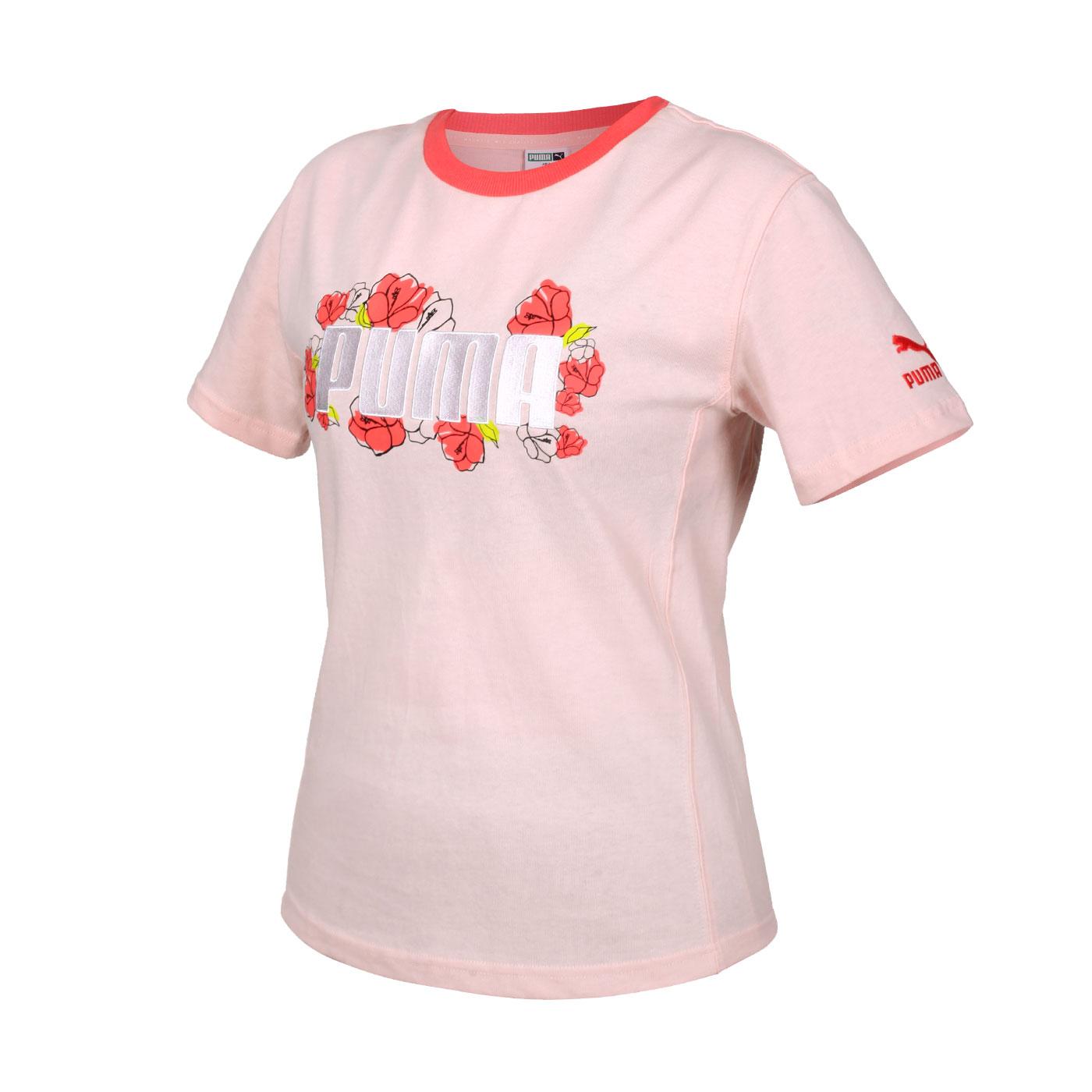 PUMA 女款Floral短袖T恤 53204227 - 粉紅綠白