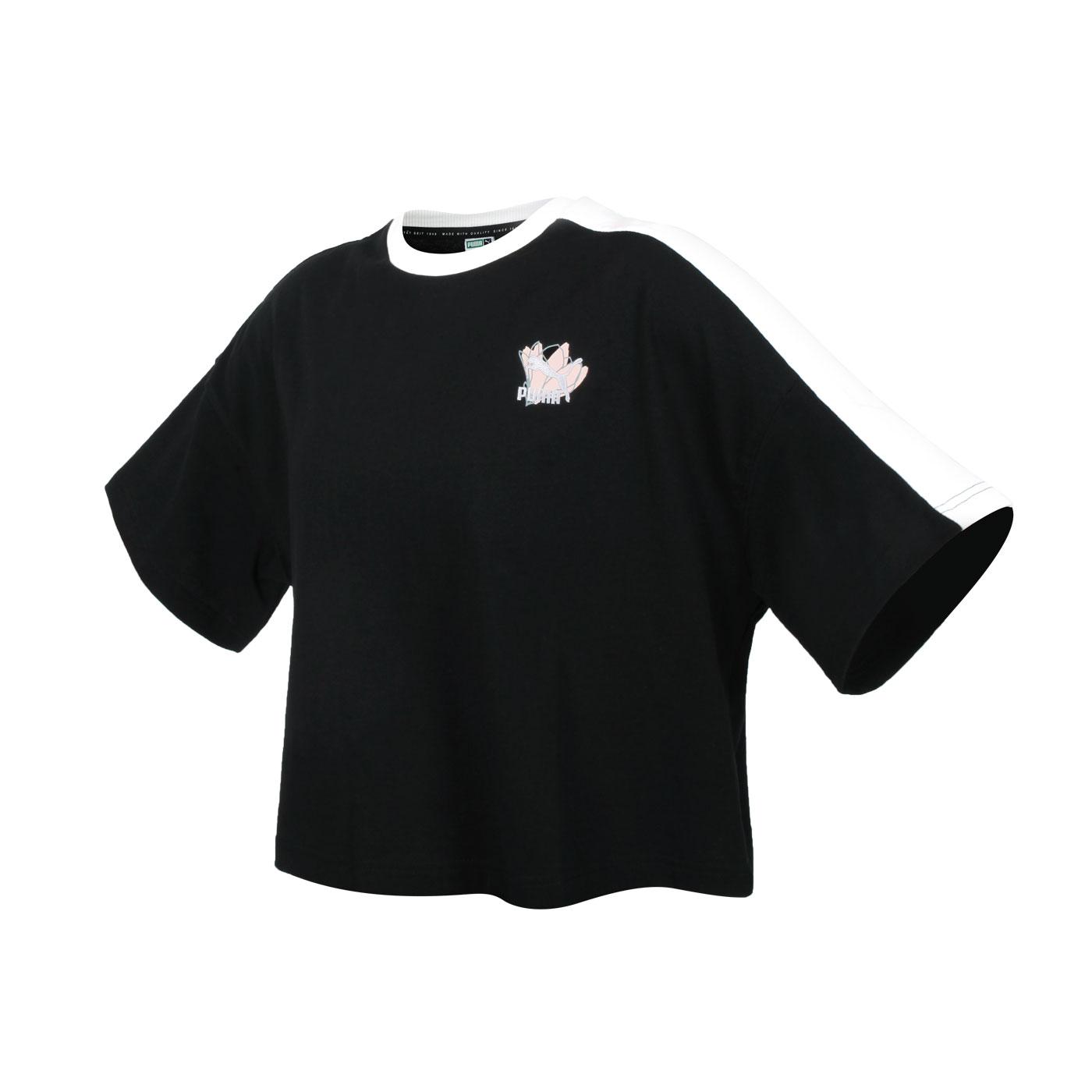 PUMA 女款Floral短袖T恤 53225801 - 黑白粉
