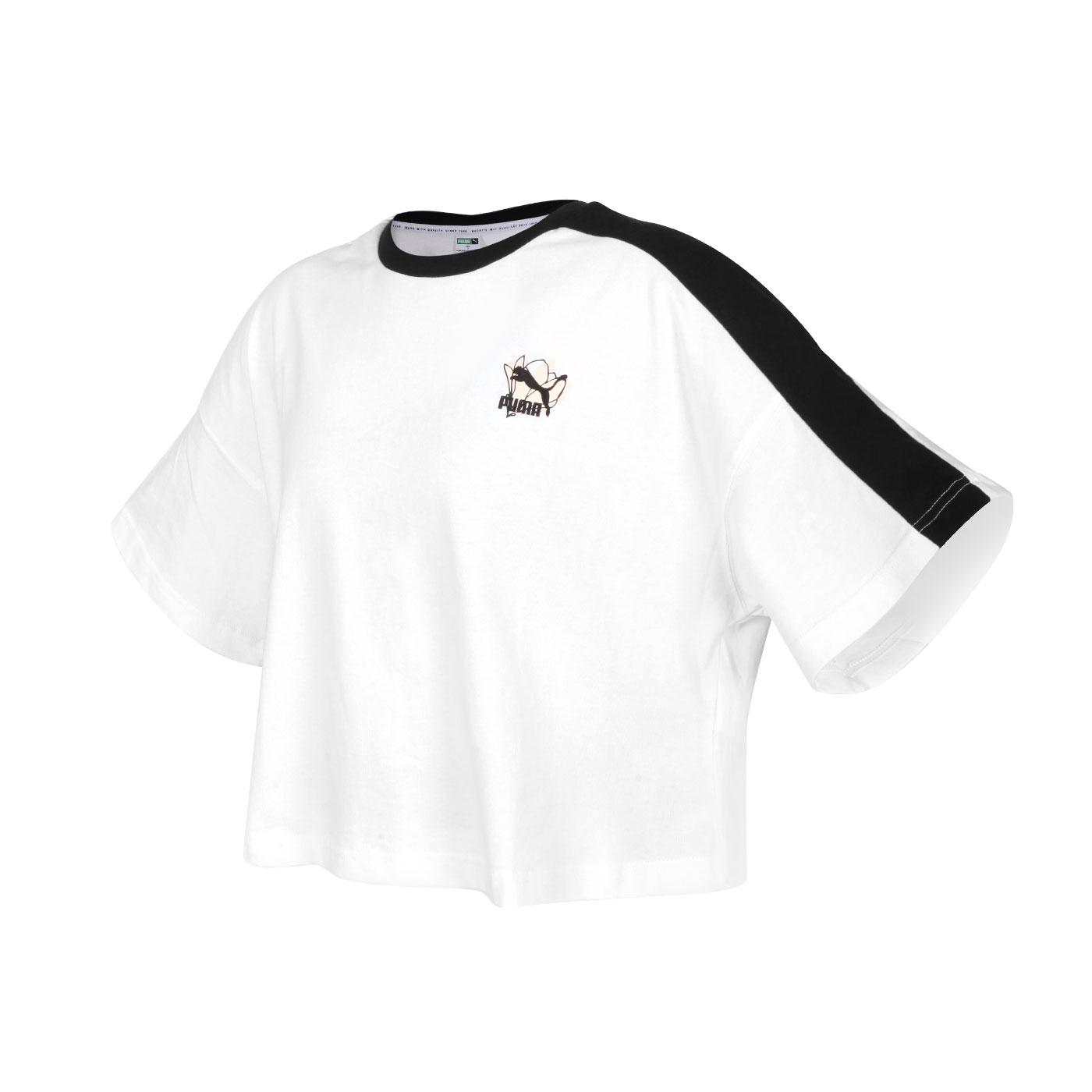 PUMA 女款Floral短袖T恤 53225802 - 白黑粉
