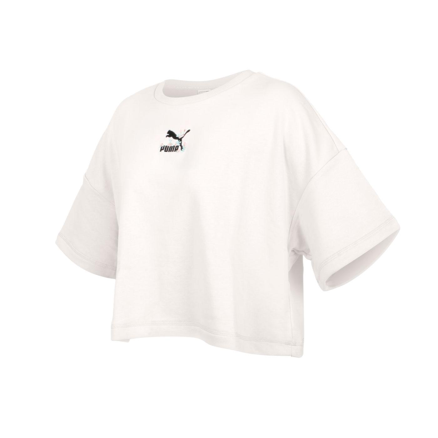 PUMA 女款流行系列Floral短袖T恤 53313173 - 米白黑粉綠