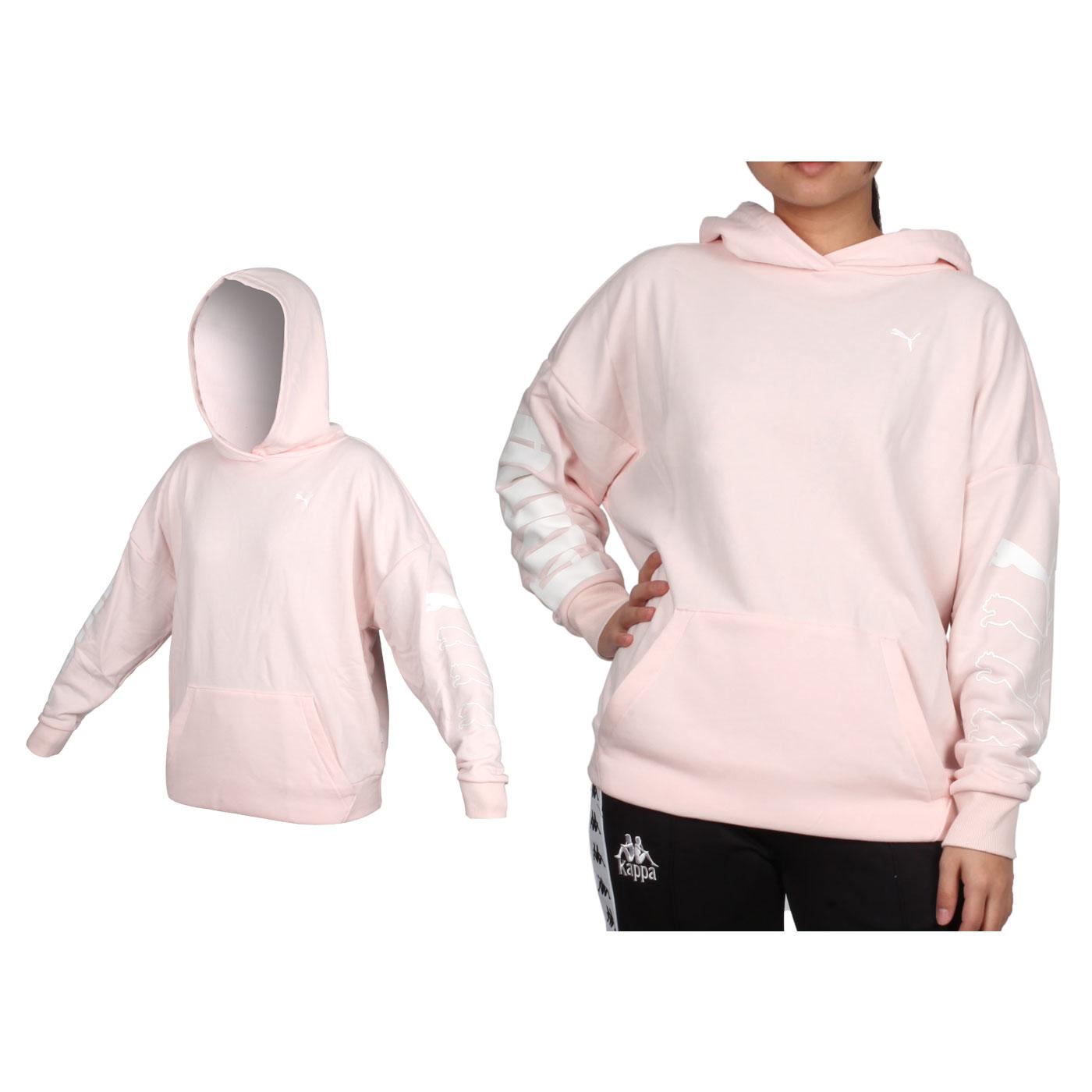 PUMA 女款基本系列長厚連帽T恤 58282117 - 淺粉白