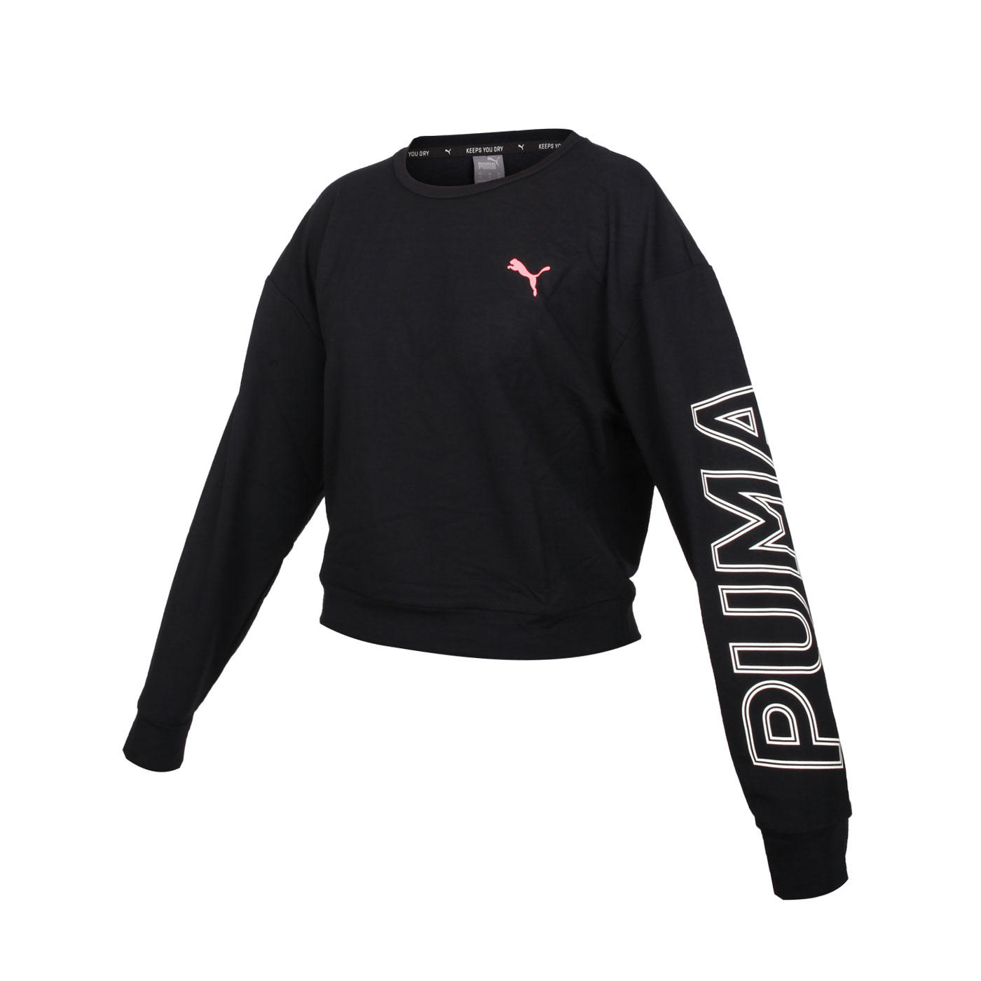 PUMA 女款基本系列短版長袖T恤 58353961 - 黑白粉