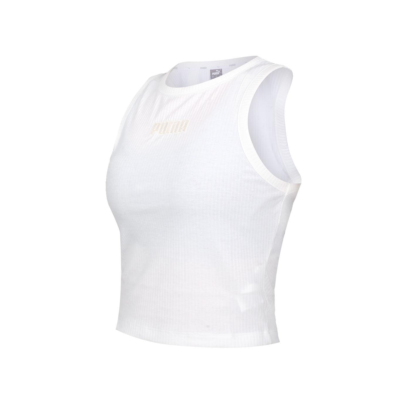 PUMA 女款基本系列Modern Basics羅紋休閒背心 58593102 - 白淺橘