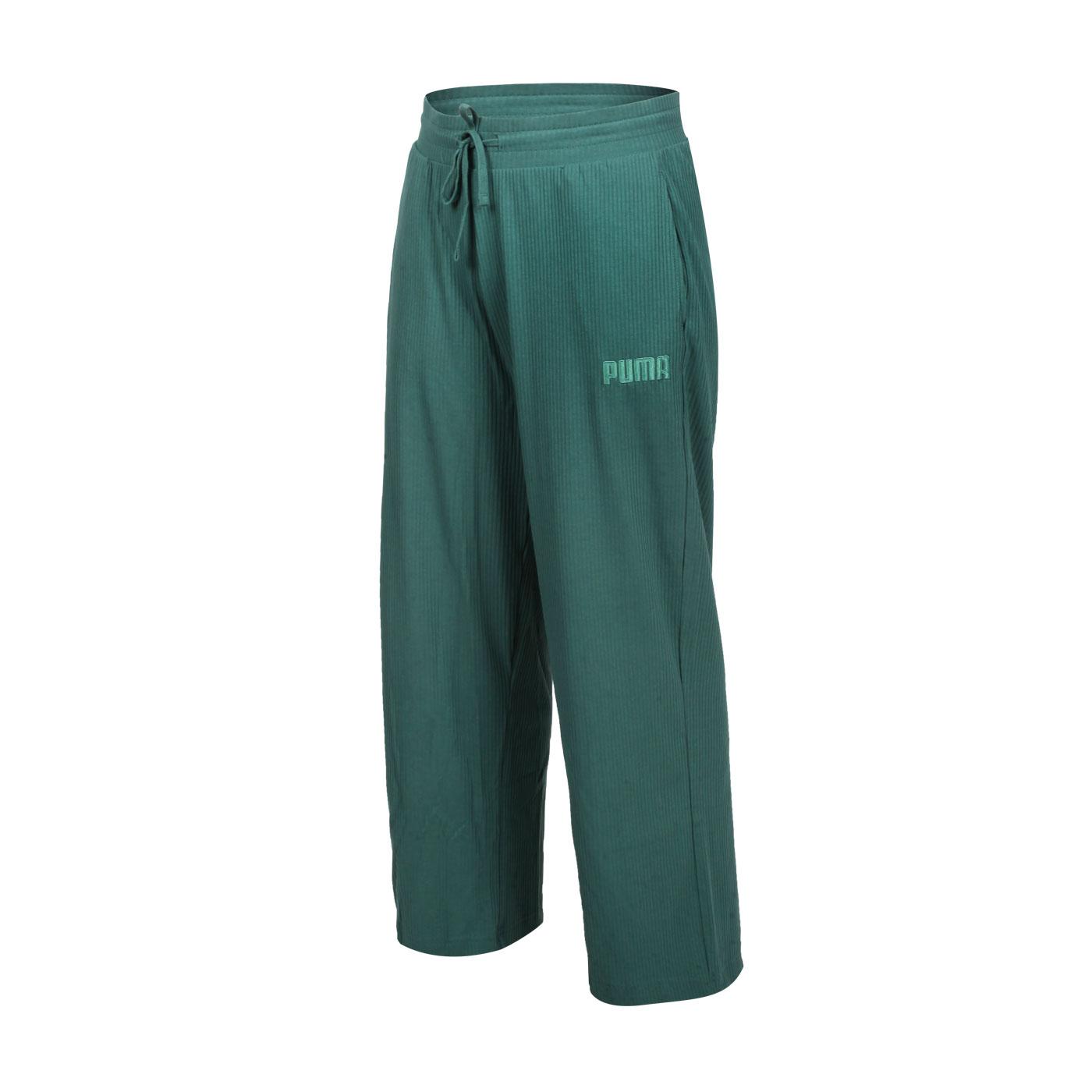 PUMA 女款基本系列Modern Basics羅紋寬褲 58593845 - 綠