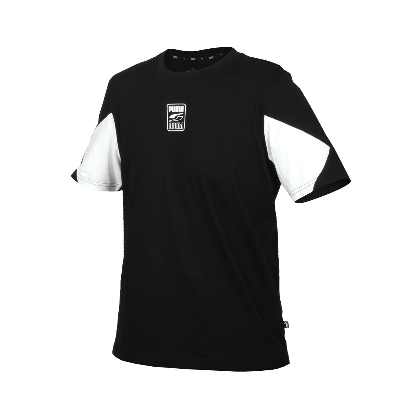 PUMA 男款基本系列拚色短袖T恤 58658801 - 黑白