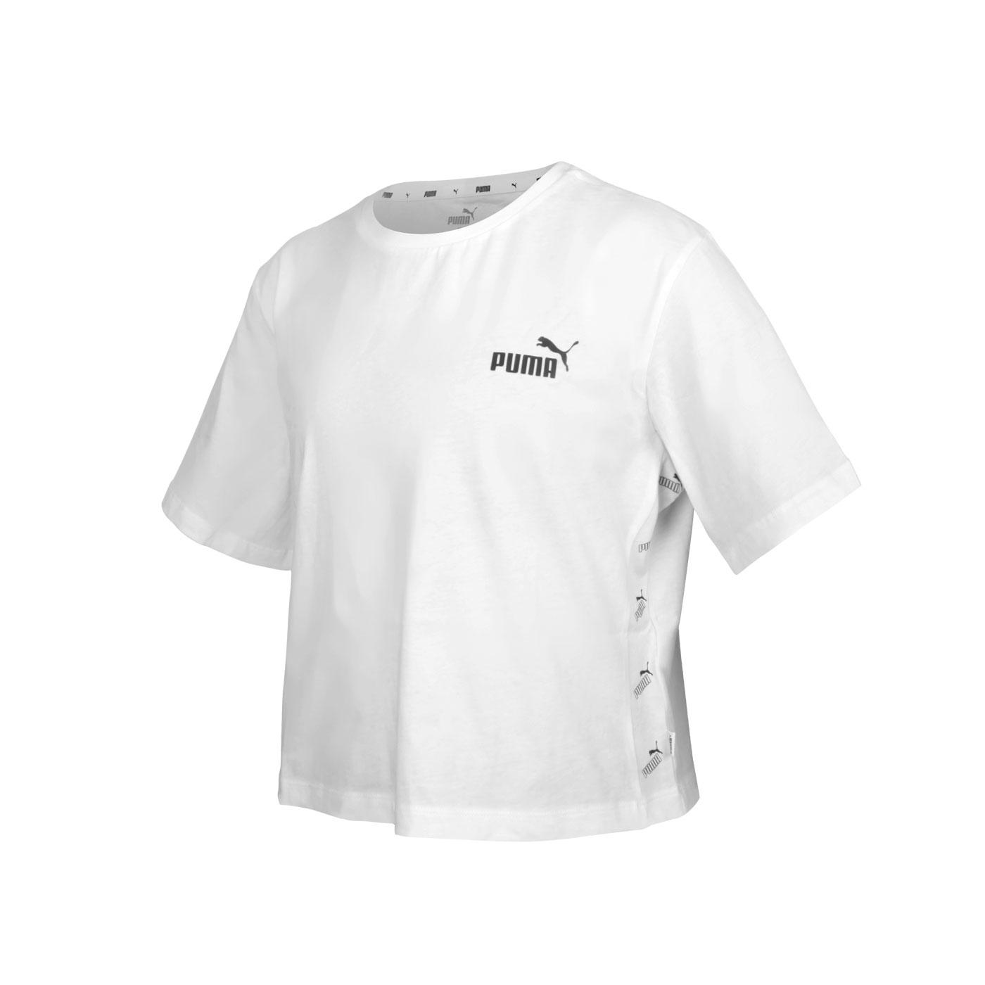 PUMA 女款基本系列短版短袖T恤 58659701 - 白黑
