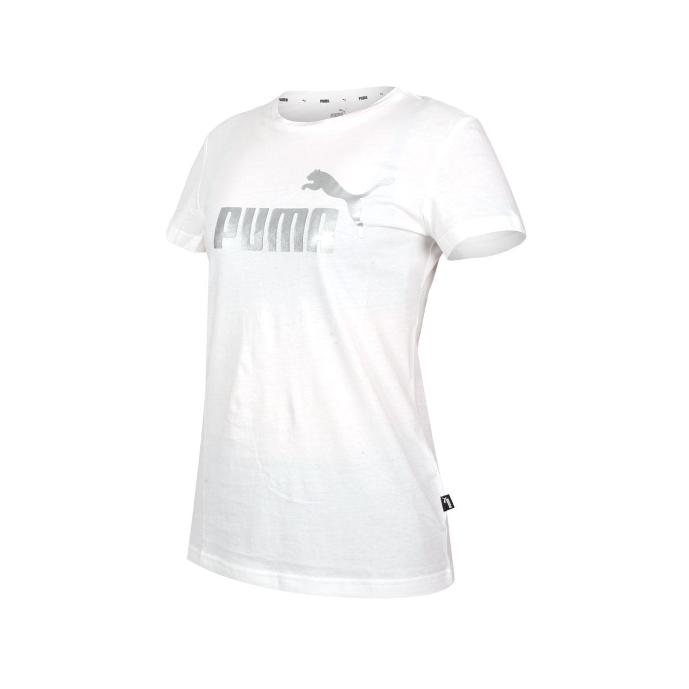 PUMA 女款基本系列短袖T恤 58689002 - 白銀