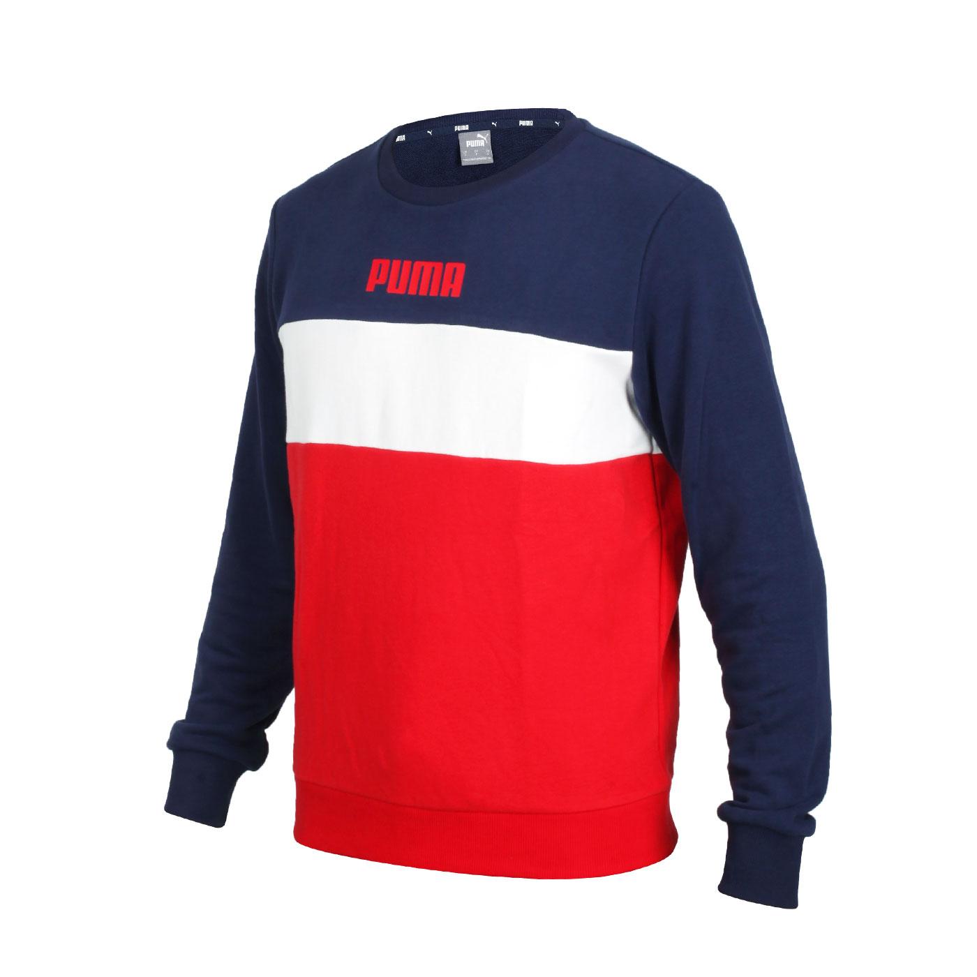PUMA 男款基本系列長袖圓領T恤 58715606 - 丈青白紅