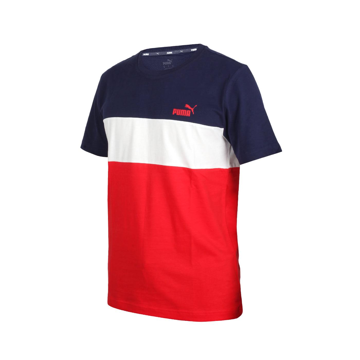 PUMA 男款基本系列短袖T恤 58715906 - 丈青白紅