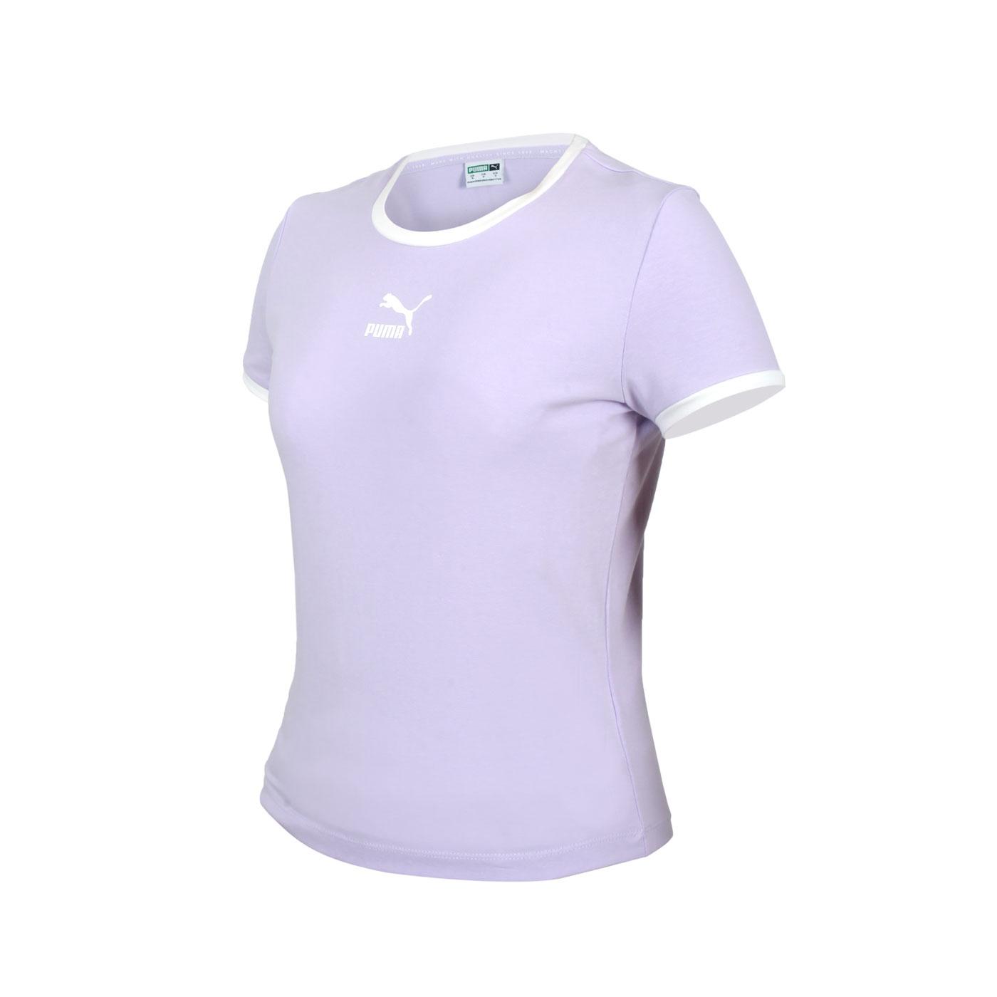 PUMA 女款貼身短袖T恤 59957716 - 粉紫白