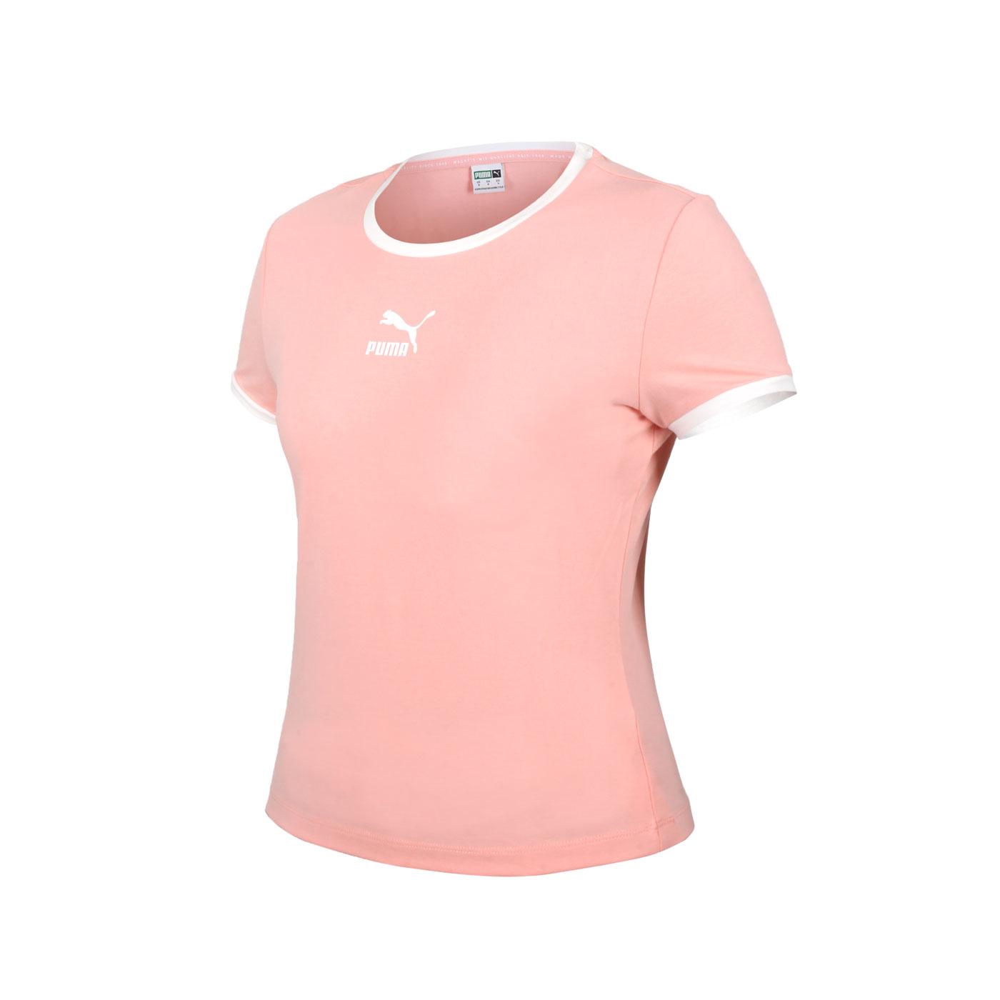 PUMA 女款貼身短袖T恤 59957726 - 粉橘白