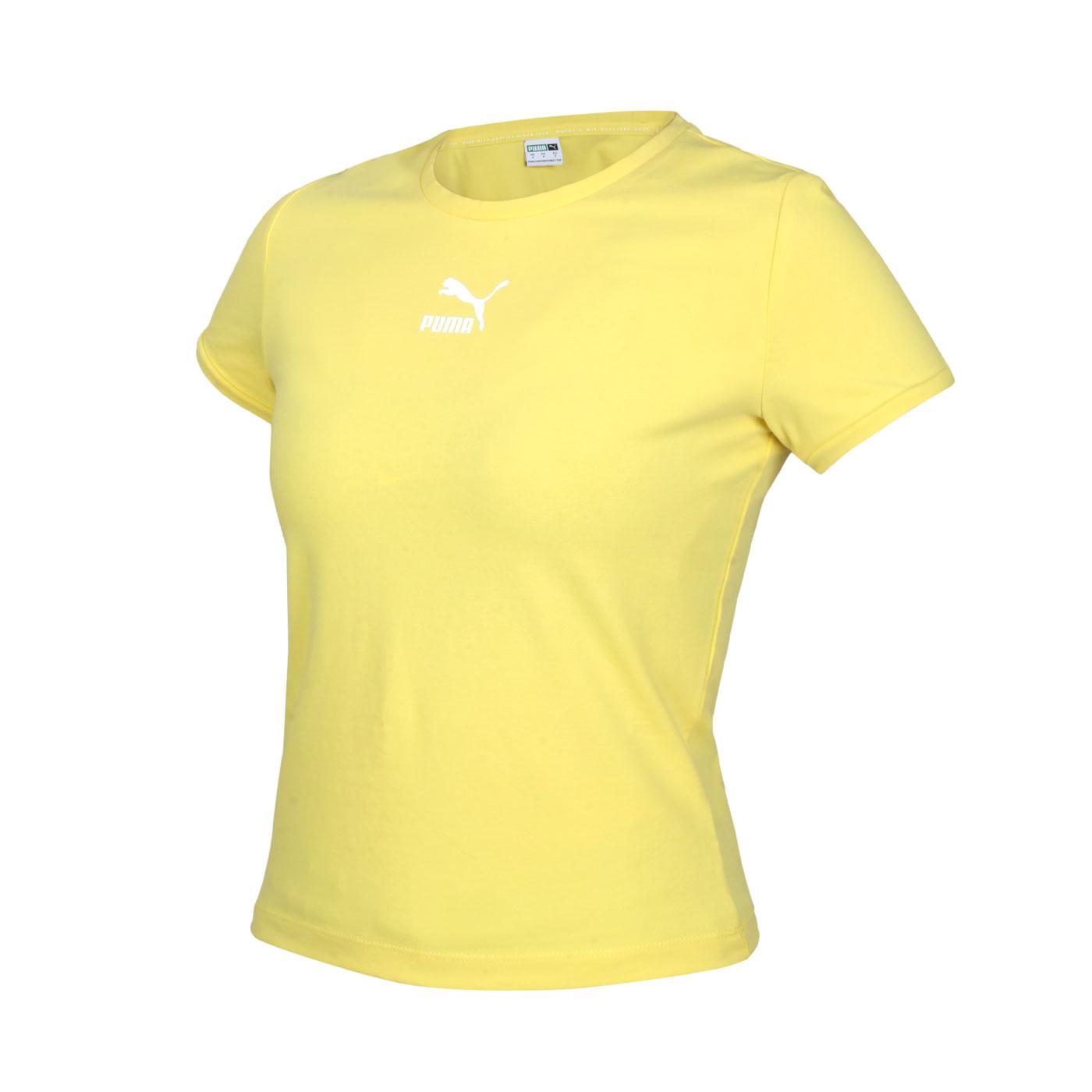 PUMA 女款基本系列Classics貼身短袖T恤 59957738 - 黃白