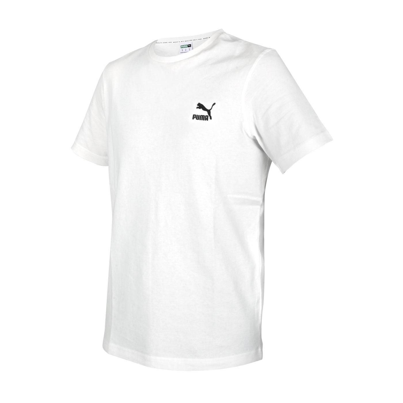 PUMA 男款刺繡短袖T恤 59979502 - 白黑
