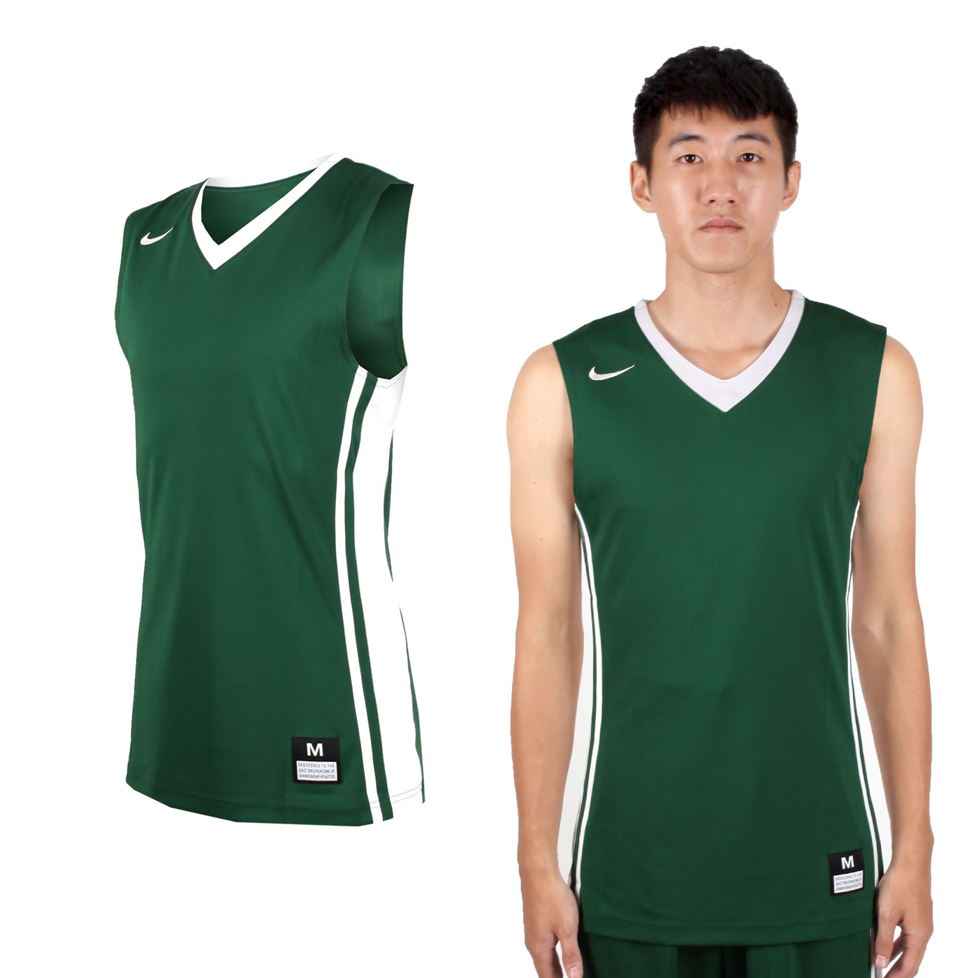NIKE 男款V領籃球針織背心 639395342 - 綠白