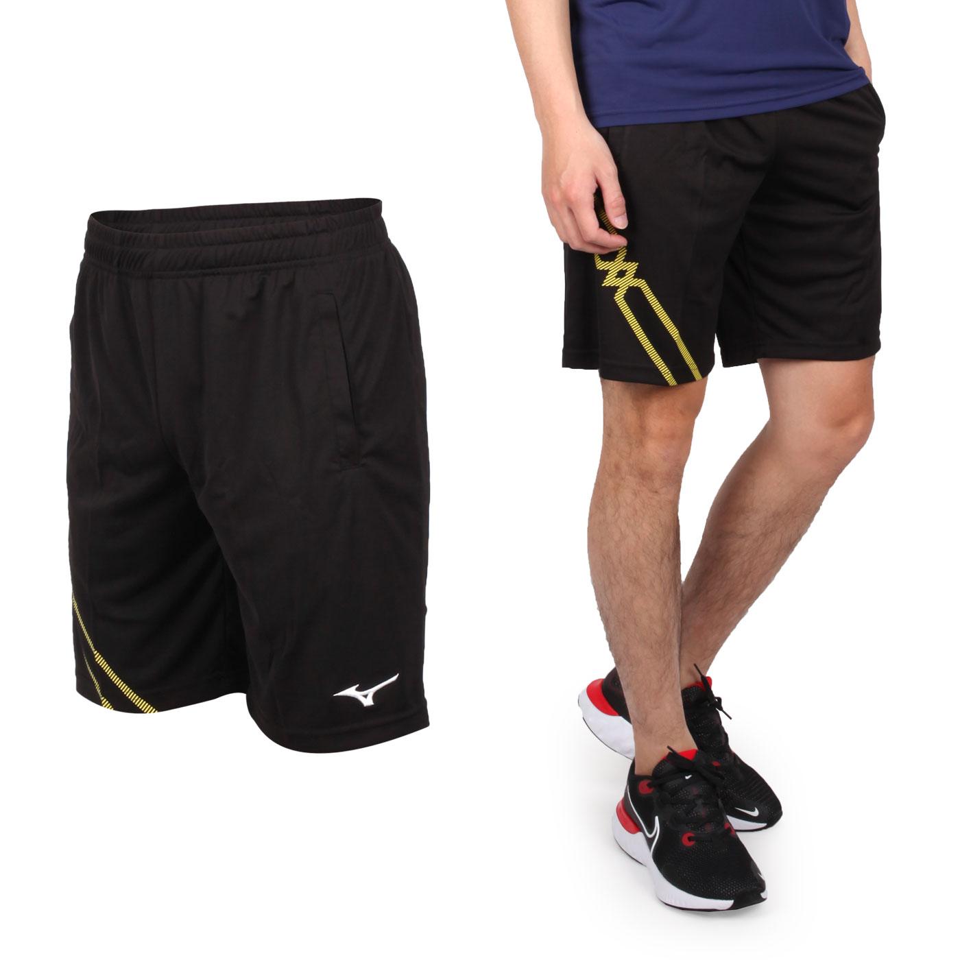 MIZUNO 男款羽球短褲 72TB0A1614 - 黑黃白