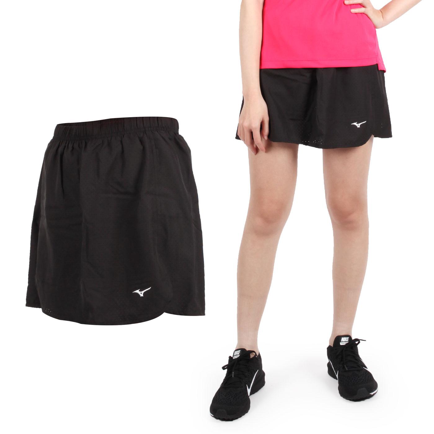 MIZUNO 女款羽球褲裙 72TB8C0109 - 黑白